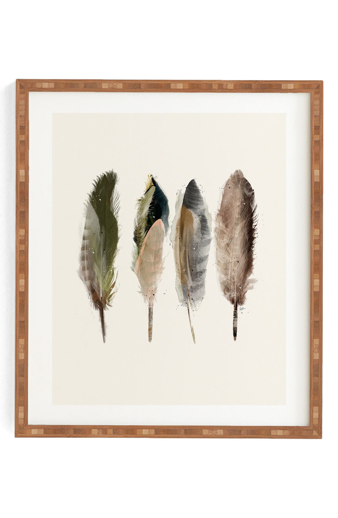 Earth Feathers Framed Wall Art,                             Main thumbnail 1, color,                             200