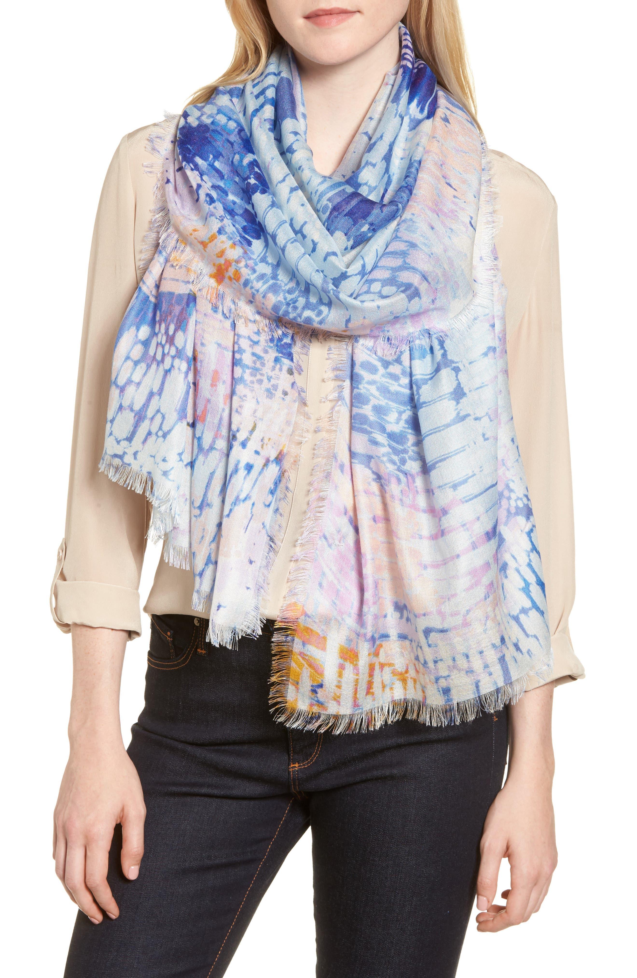Eyelash Trim Print Cashmere & Silk Wrap,                             Main thumbnail 19, color,