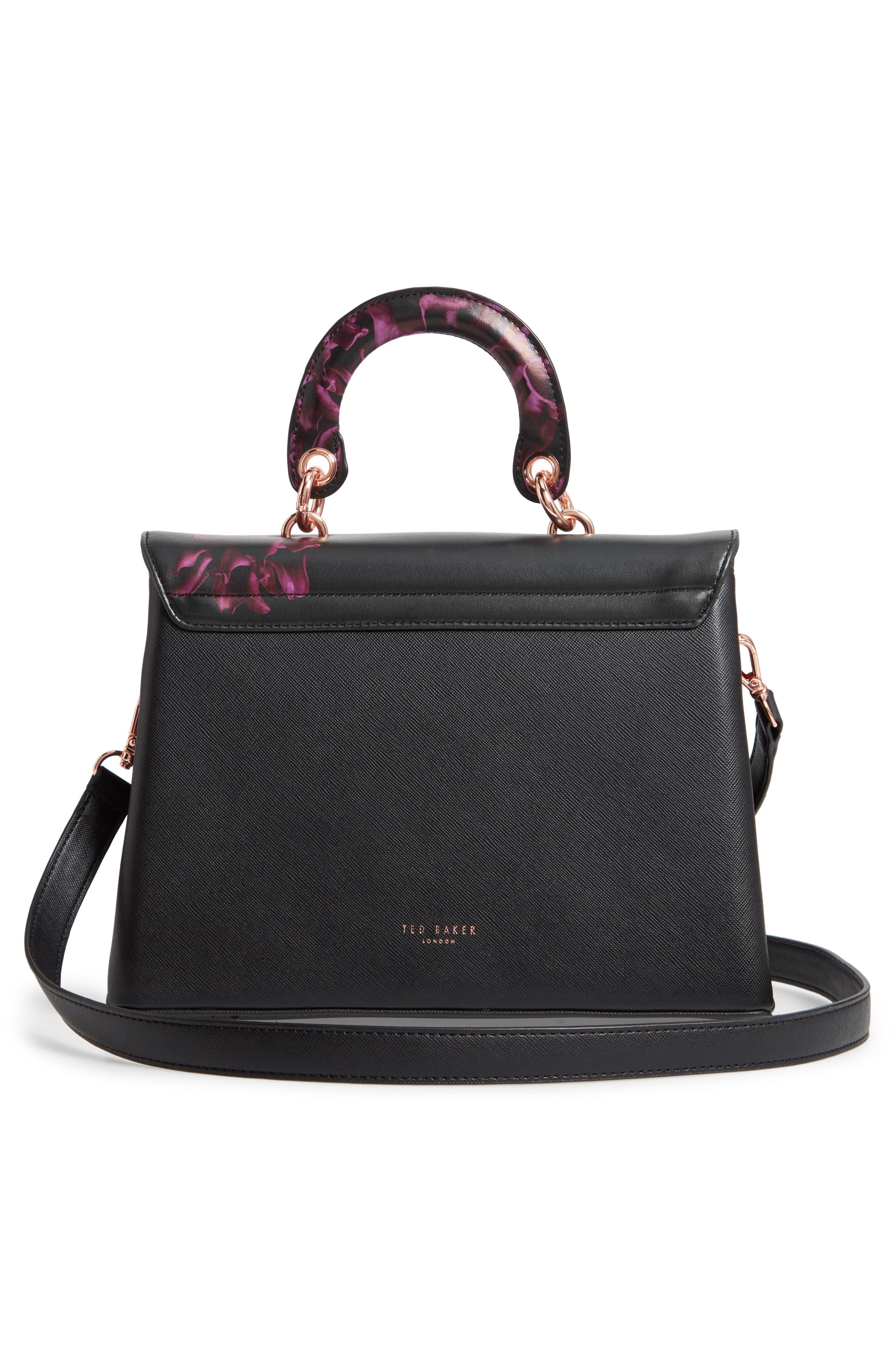 Splendour Lady Bag Faux Leather Top Handle Satchel,                             Alternate thumbnail 3, color,                             BLACK