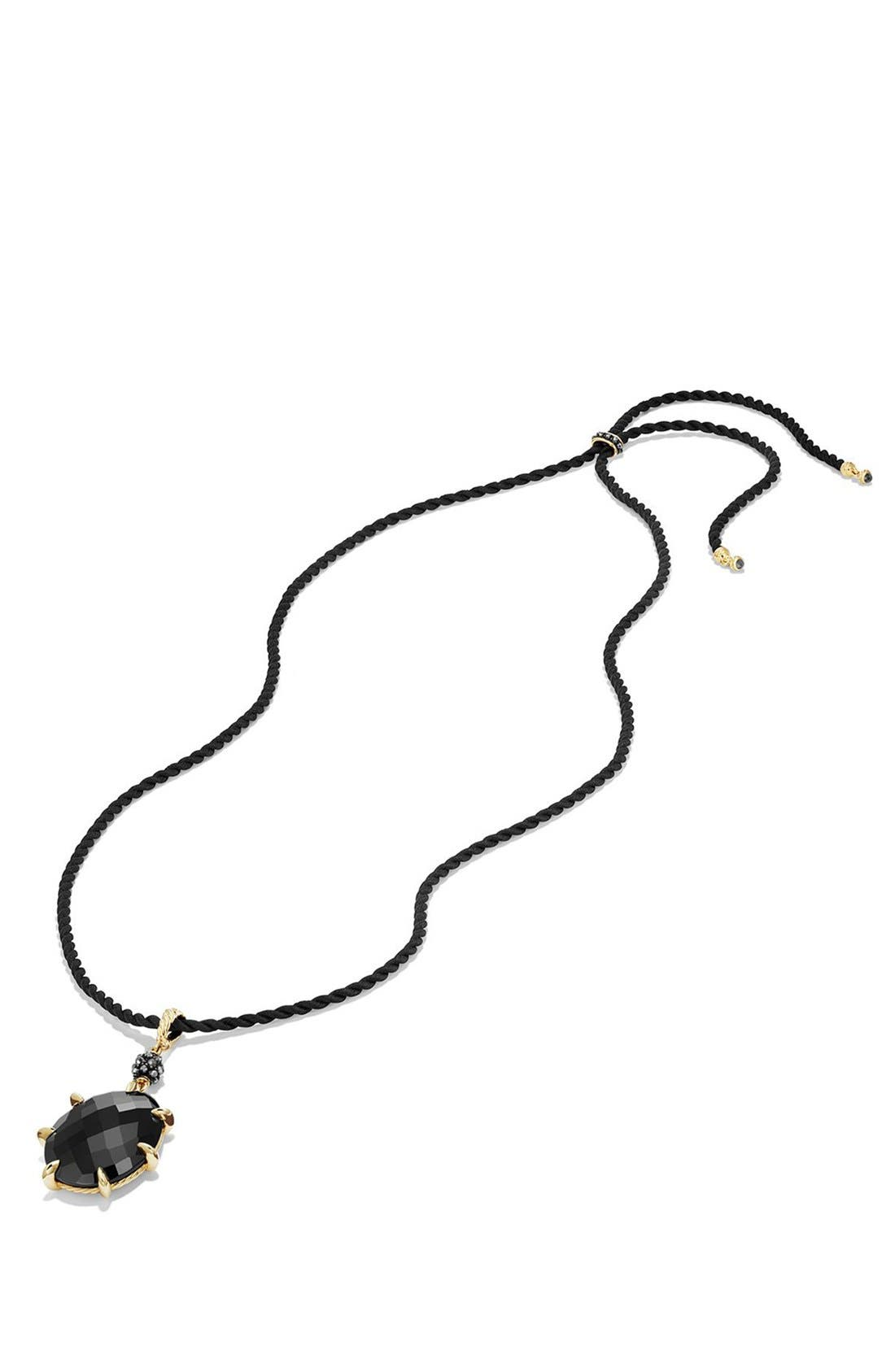 Cable Berries Long Station Pendant Necklace with 18K Gold,                             Alternate thumbnail 2, color,                             BLACK ONYX