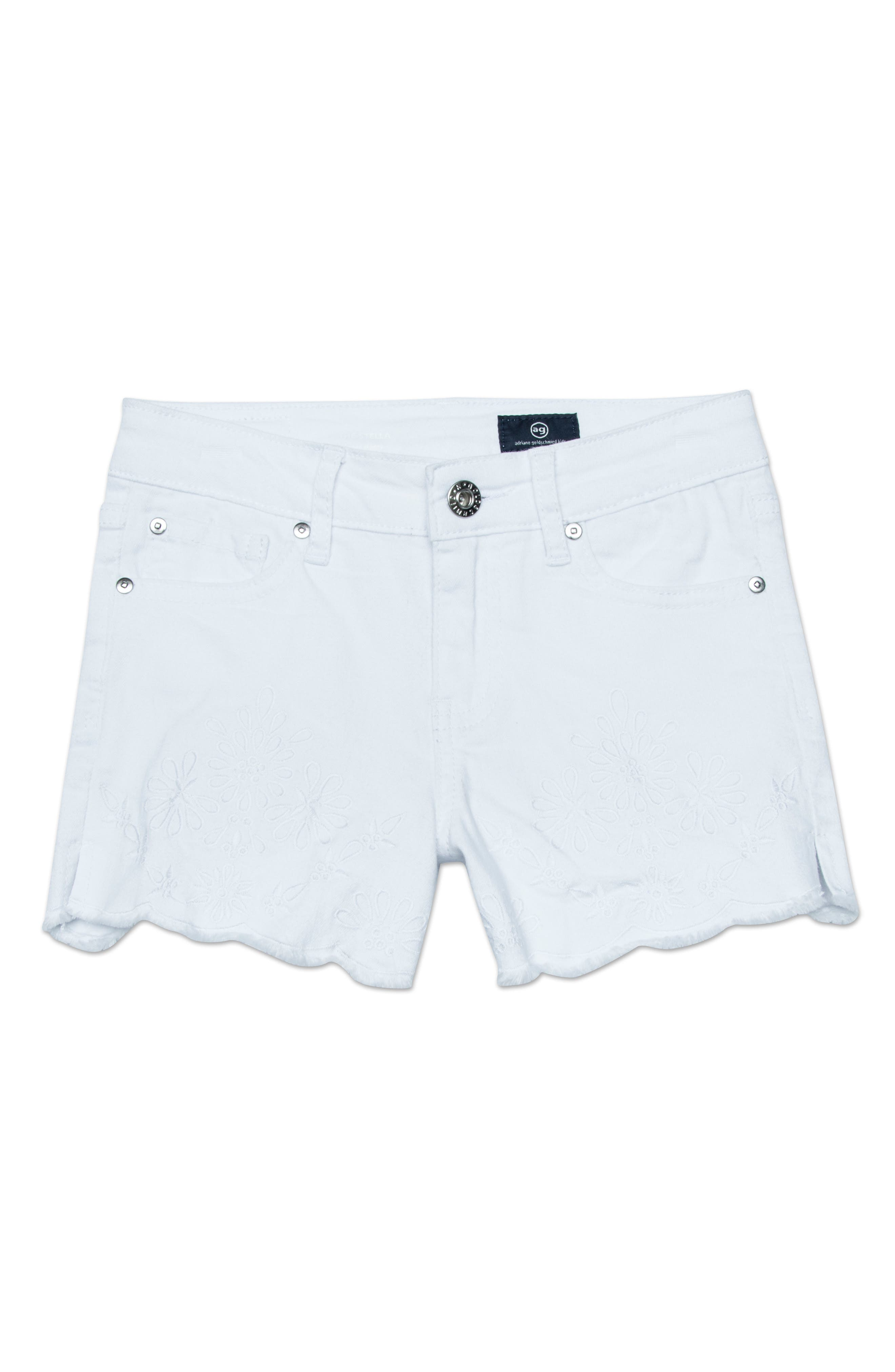 ag adriano goldschmeid kids The Brooklyn Scallop Denim Shorts,                         Main,                         color, WHITE/ COCONUT