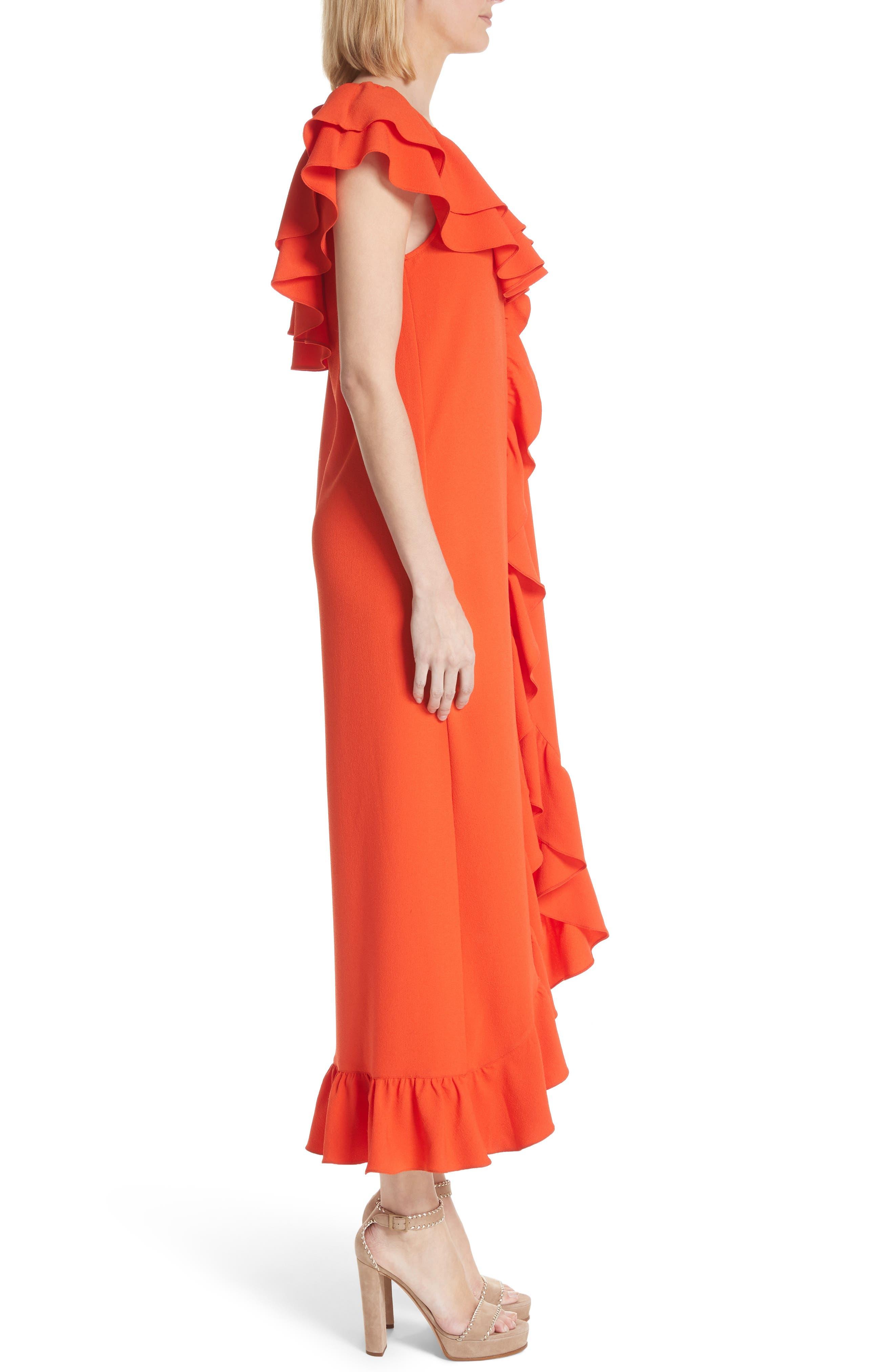 Clark Ruffle Maxi Dress,                             Alternate thumbnail 3, color,                             BIG APPLE RED