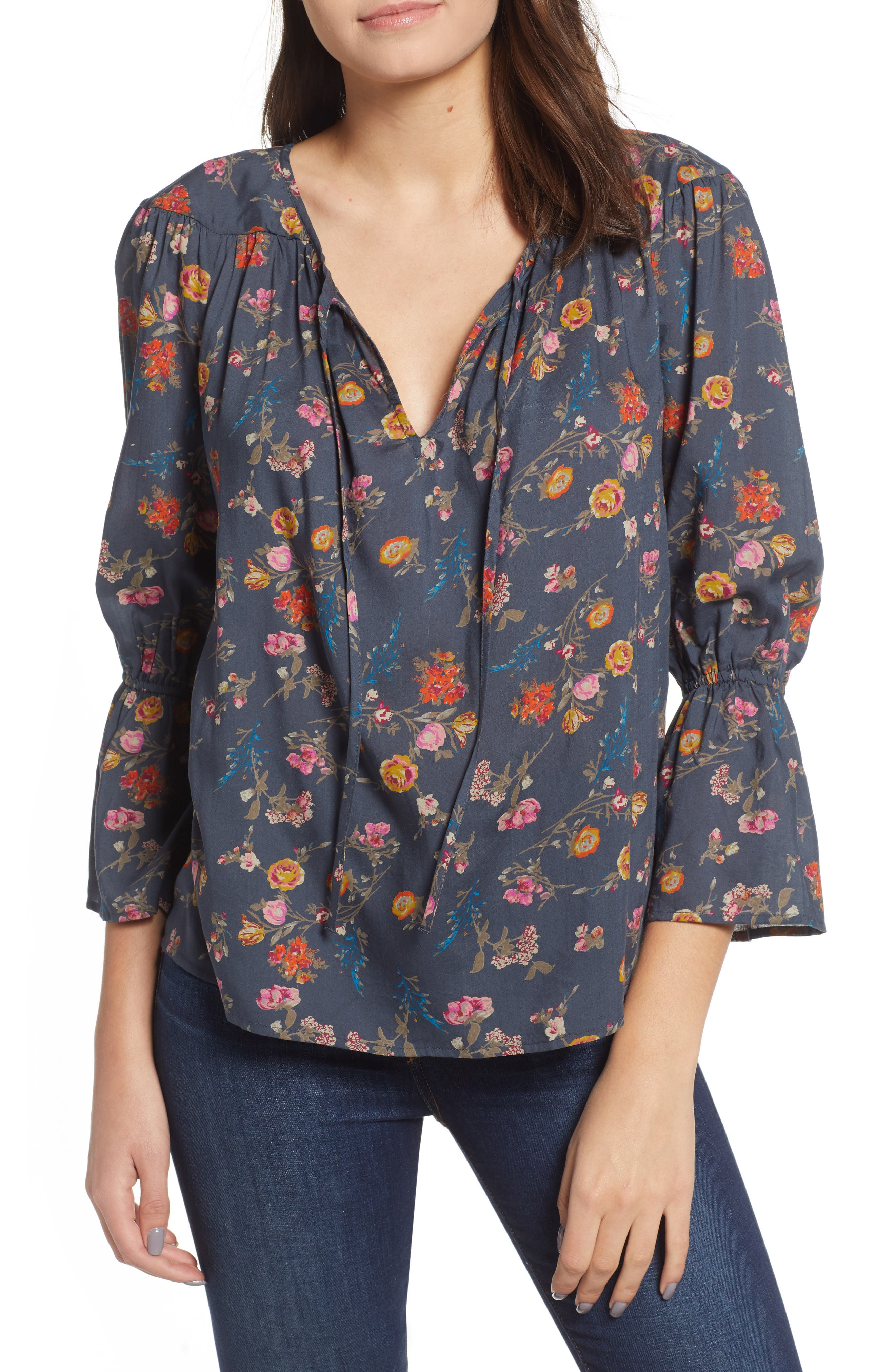 Floral Bell Sleeve Peasant Blouse,                             Main thumbnail 1, color,                             440
