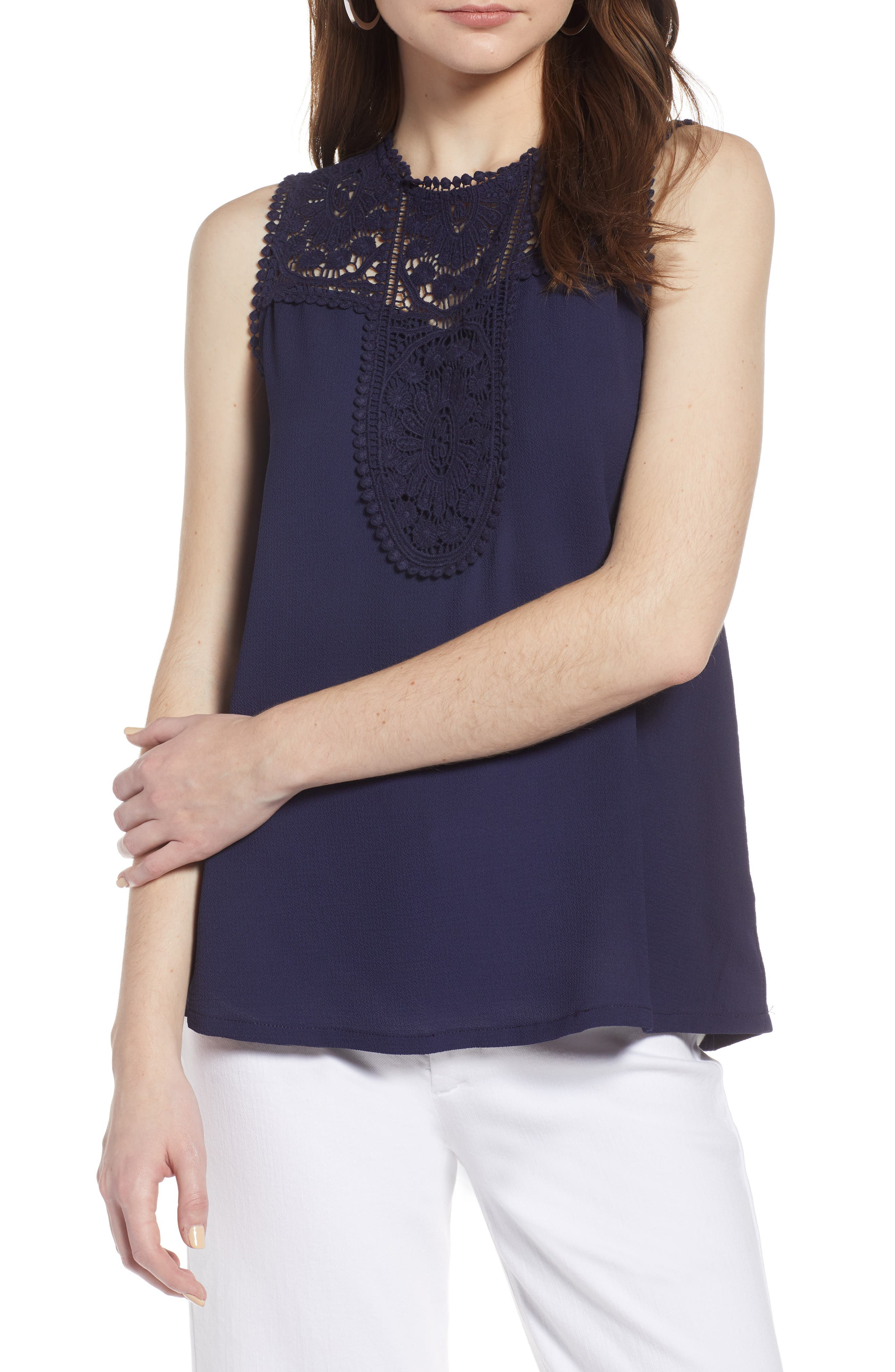 Lace & Crepe Top,                             Main thumbnail 1, color,                             NAVY PEACOAT