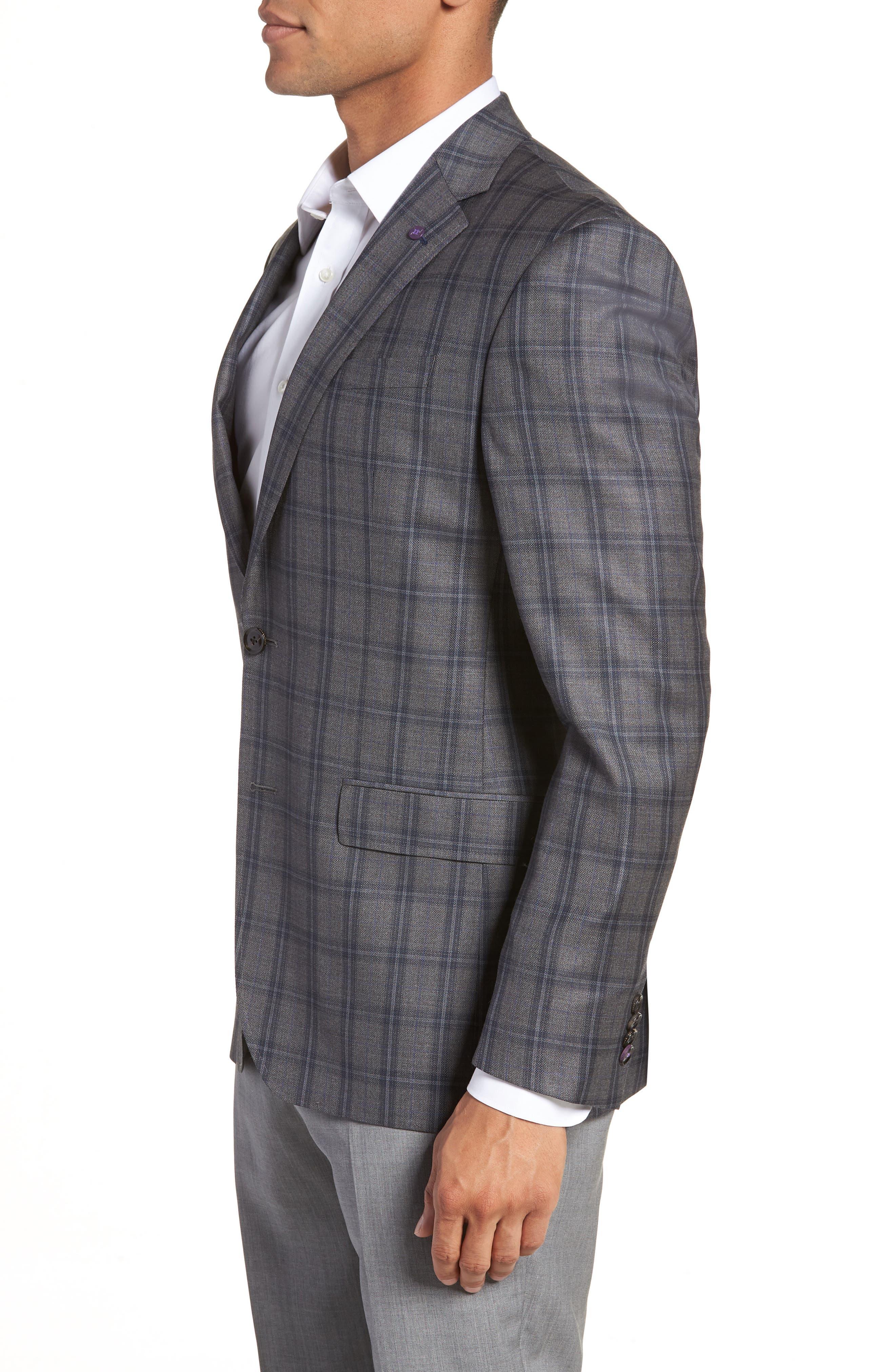Jay Trim Fit Windowpane Wool Sport Coat,                             Alternate thumbnail 3, color,                             GREY