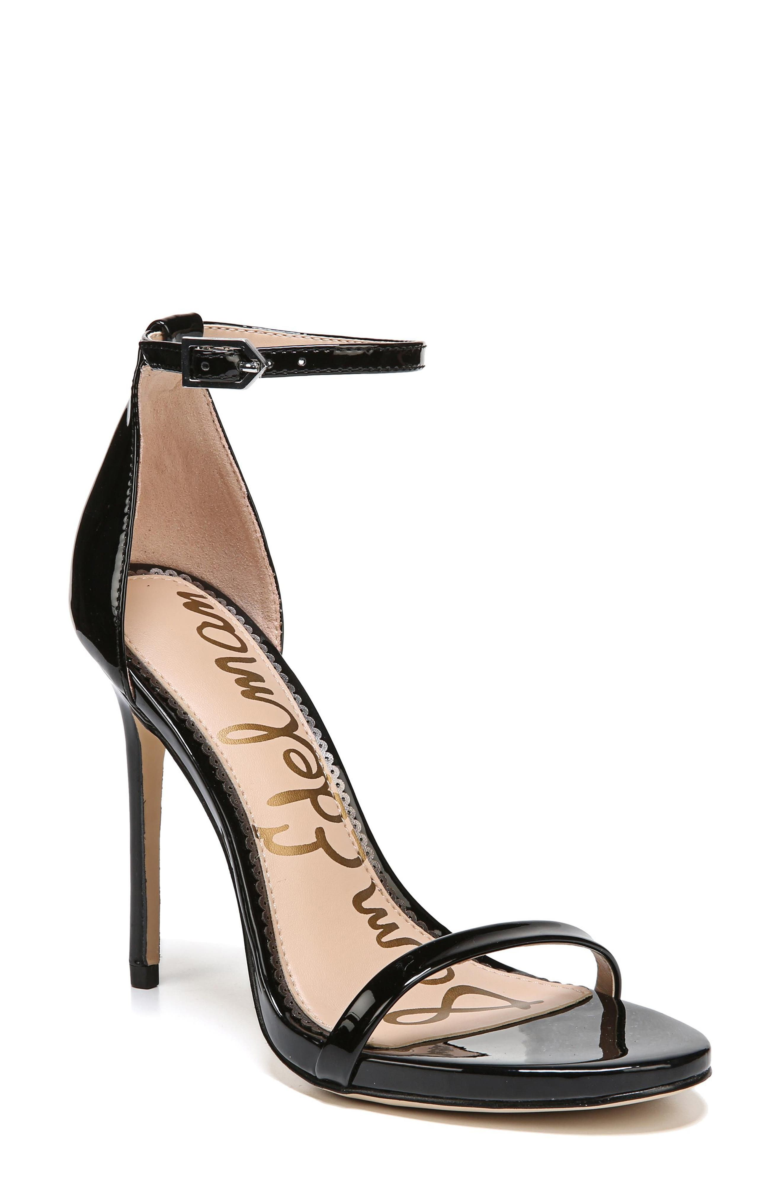 Ariella Ankle Strap Sandal,                             Main thumbnail 1, color,                             BLACK PATENT LEATHER