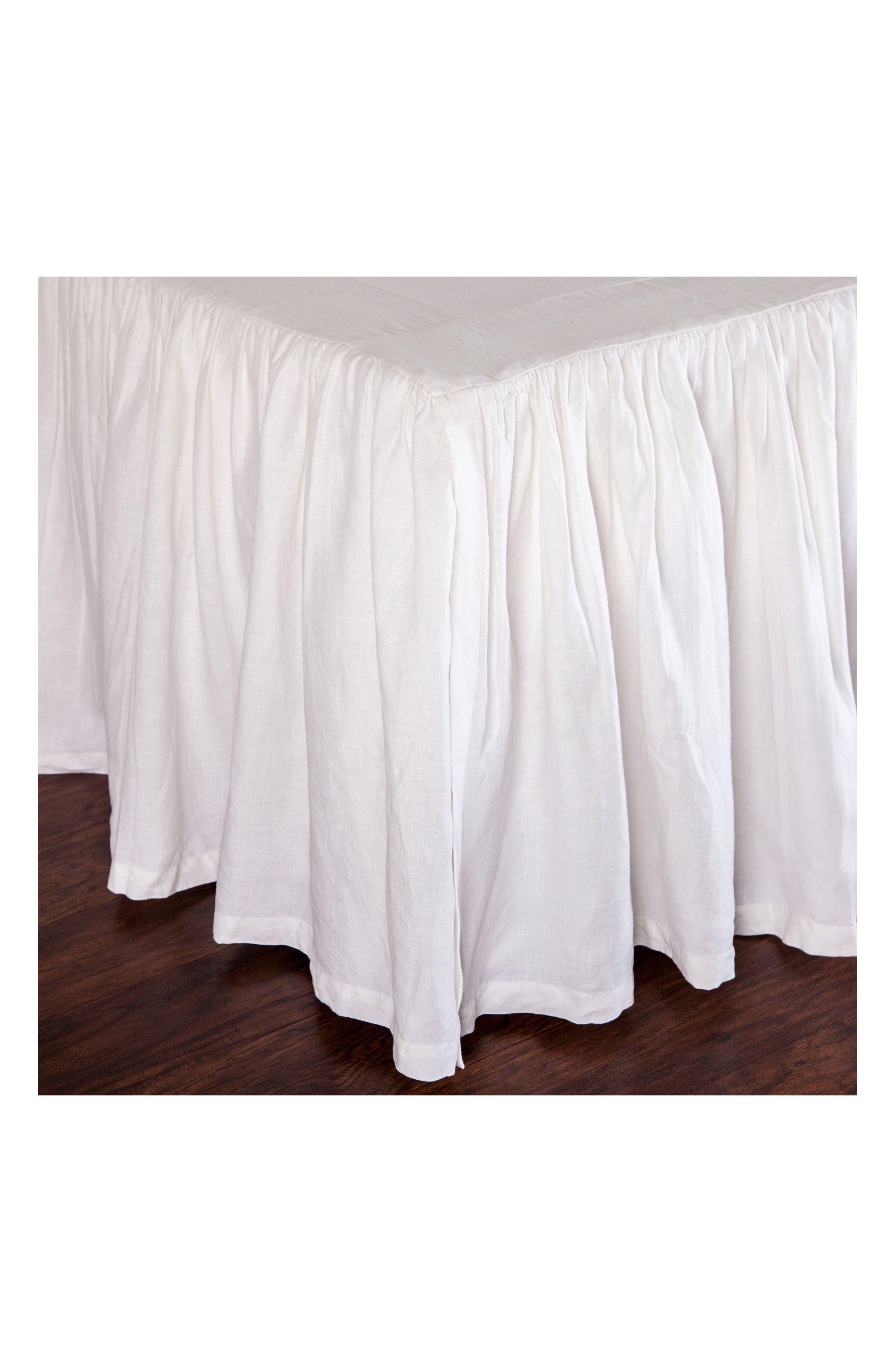 Gathered Linen Bed Skirt,                             Alternate thumbnail 2, color,                             WHITE