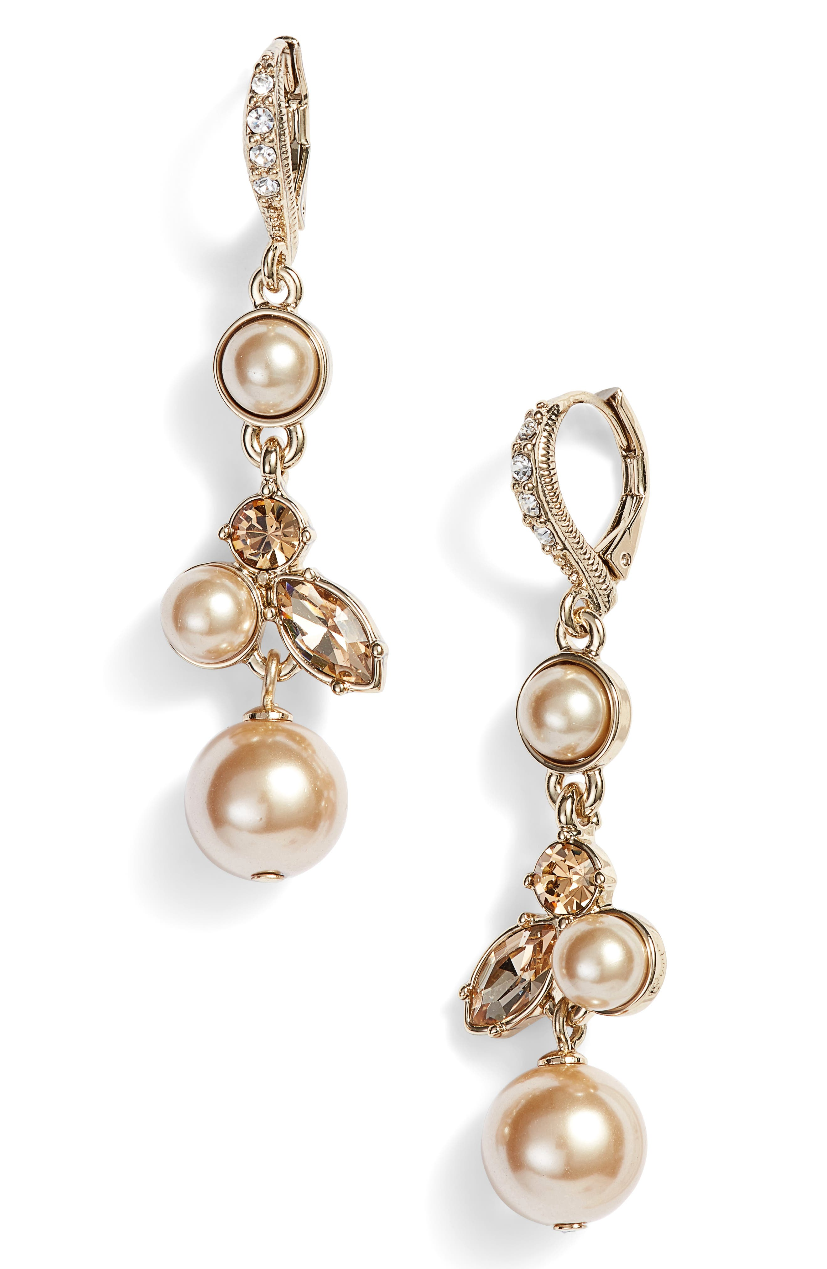 Imitation Pearl Drop Earrings,                             Main thumbnail 1, color,                             710