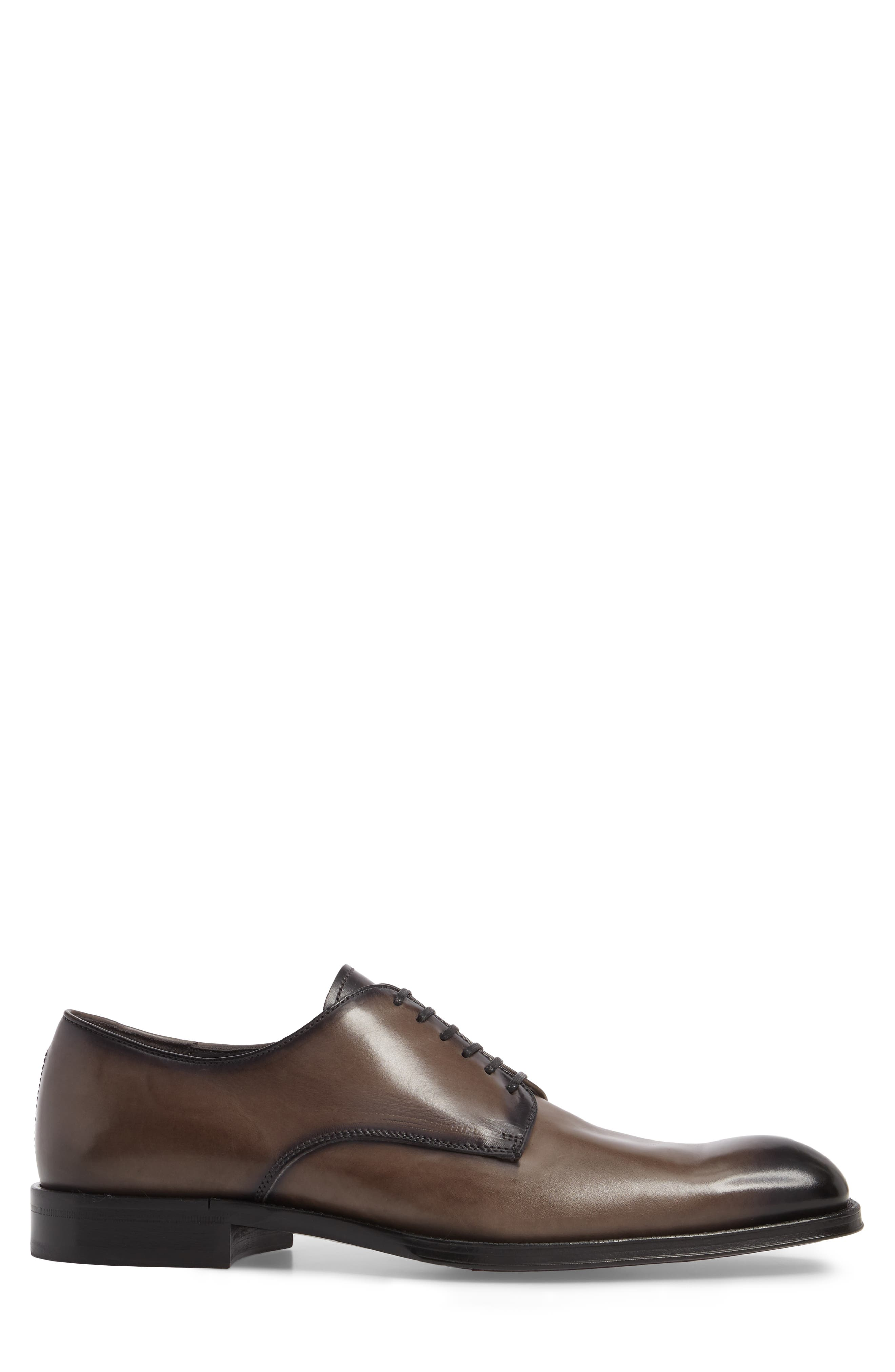 Academy Plain Toe Derby,                             Alternate thumbnail 3, color,                             GREY LEATHER