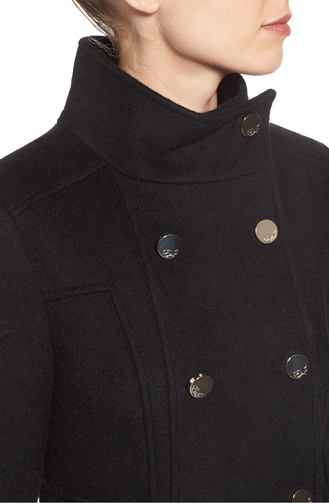 Wool Blend Long Military Coat,                             Alternate thumbnail 5, color,                             001