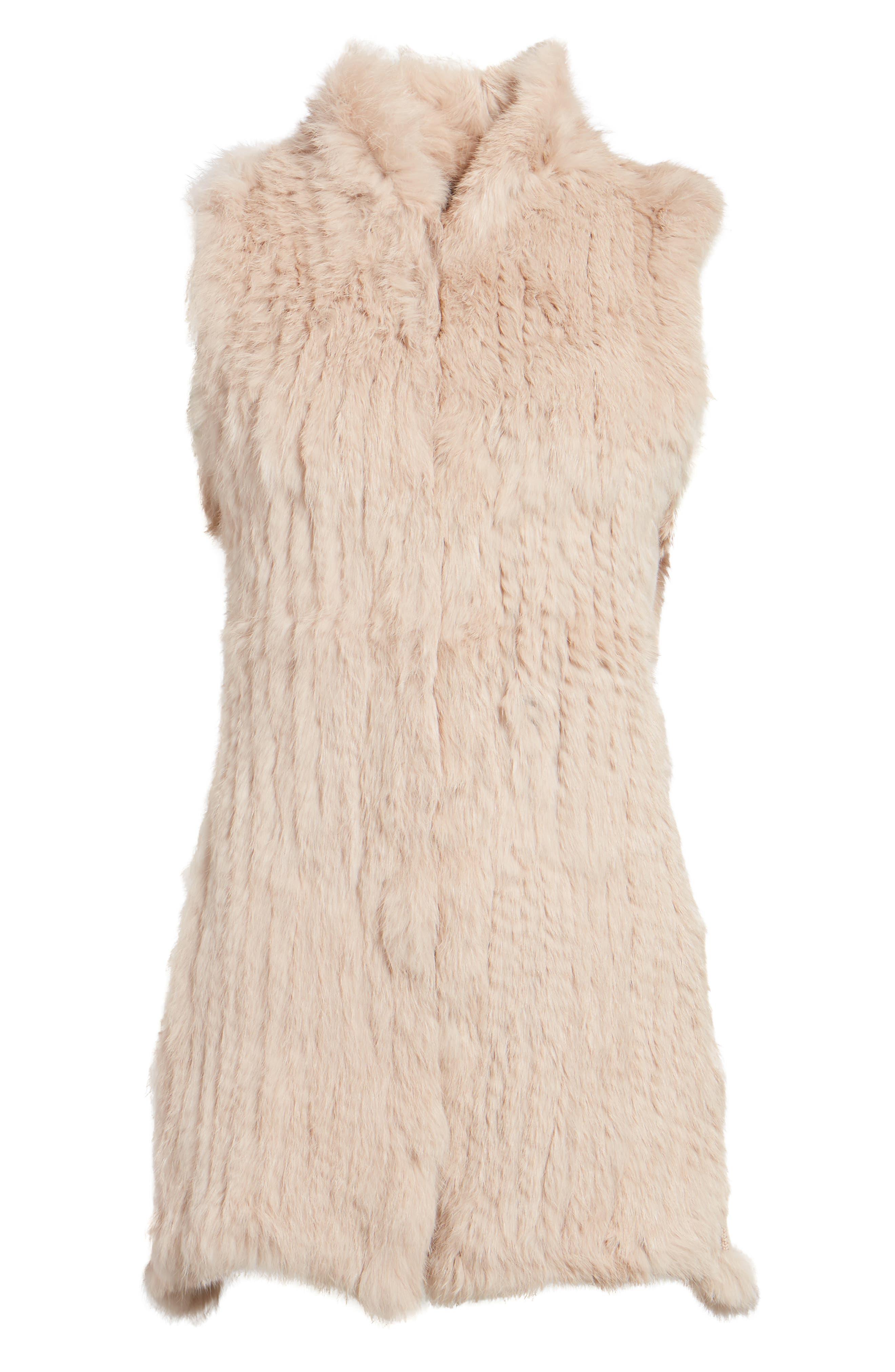 Genuine Rabbit Fur & Knit Vest,                             Alternate thumbnail 29, color,