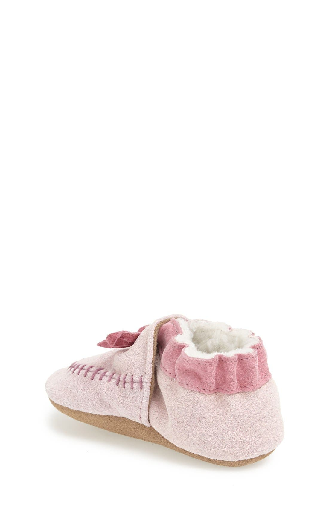 Cozy Moccasin Crib Shoe,                             Alternate thumbnail 4, color,                             PINK