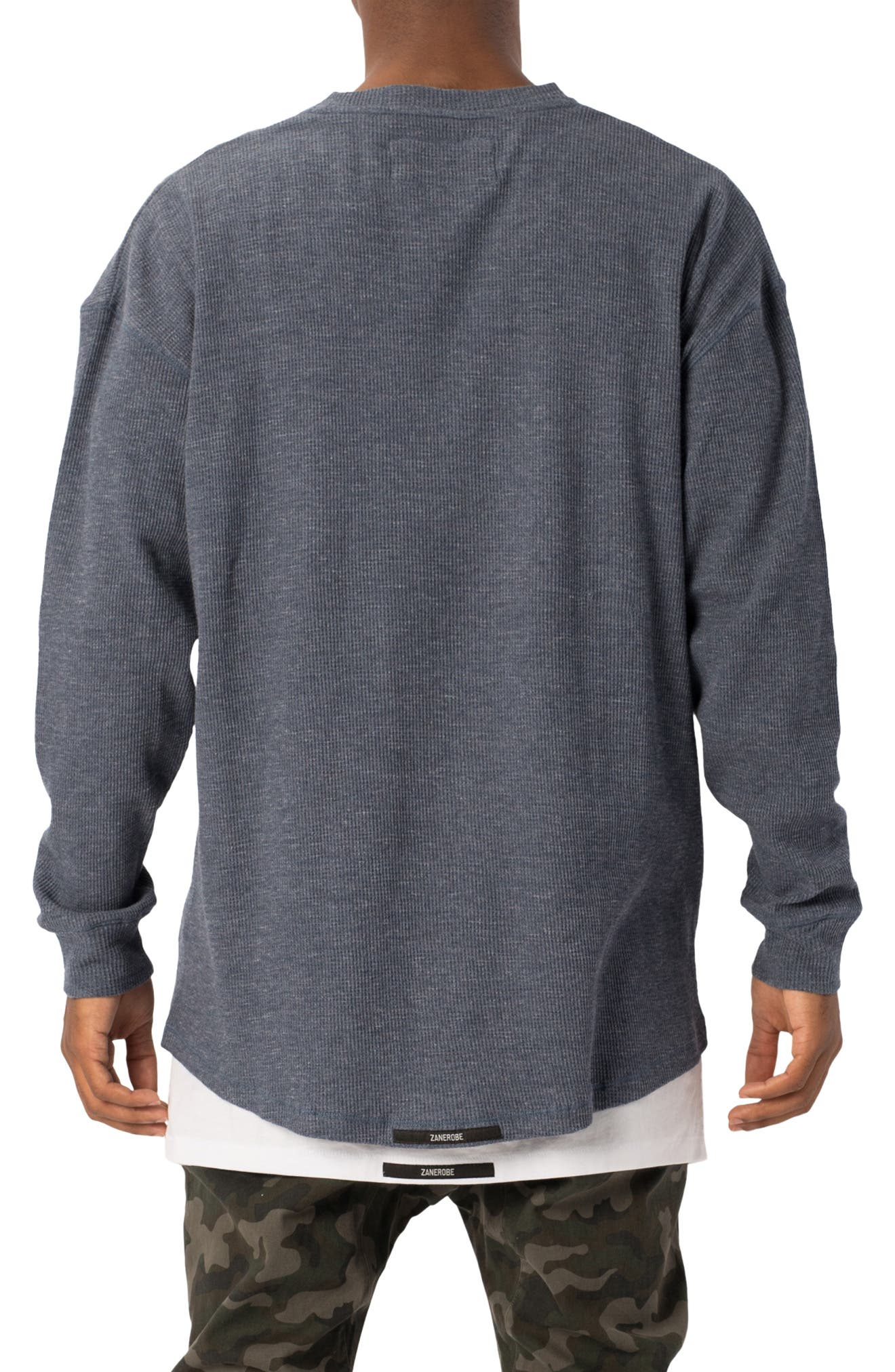 Rugger Waffle Knit Long Sleeve T-Shirt,                             Alternate thumbnail 2, color,                             DENIM MARLE