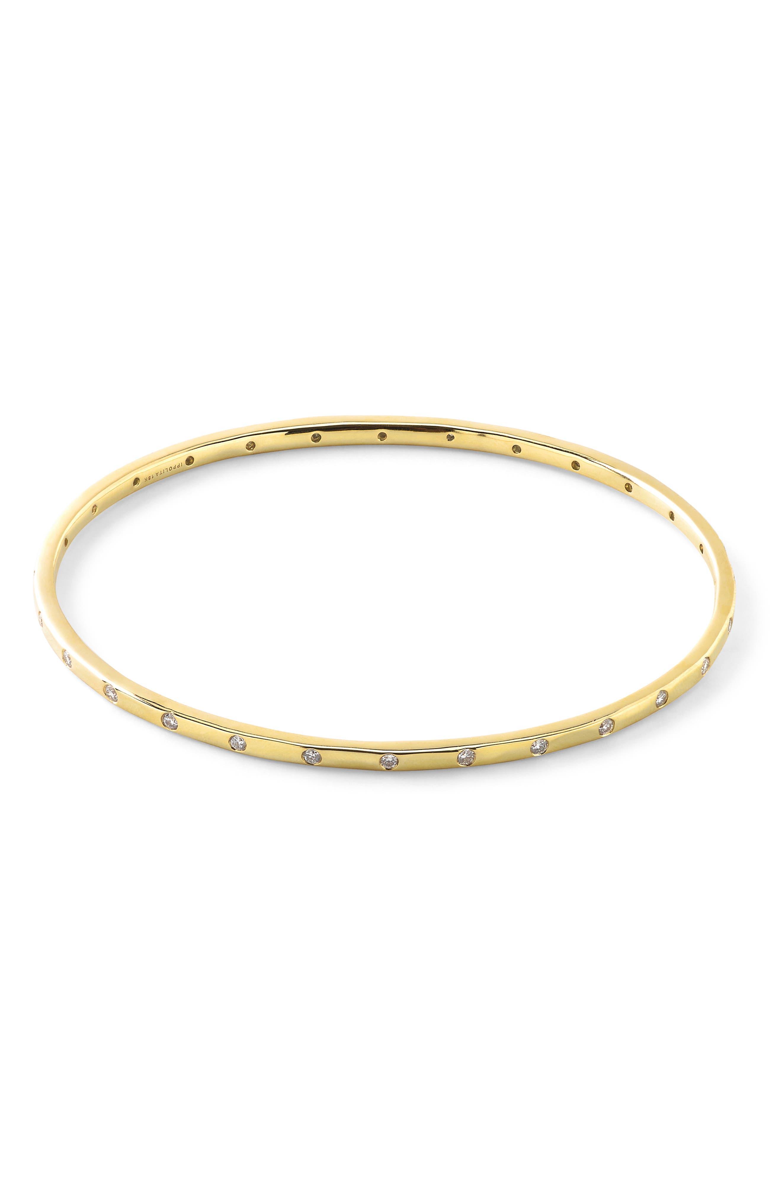 Thin Diamond Bangle,                         Main,                         color, GOLD/ DIAMOND