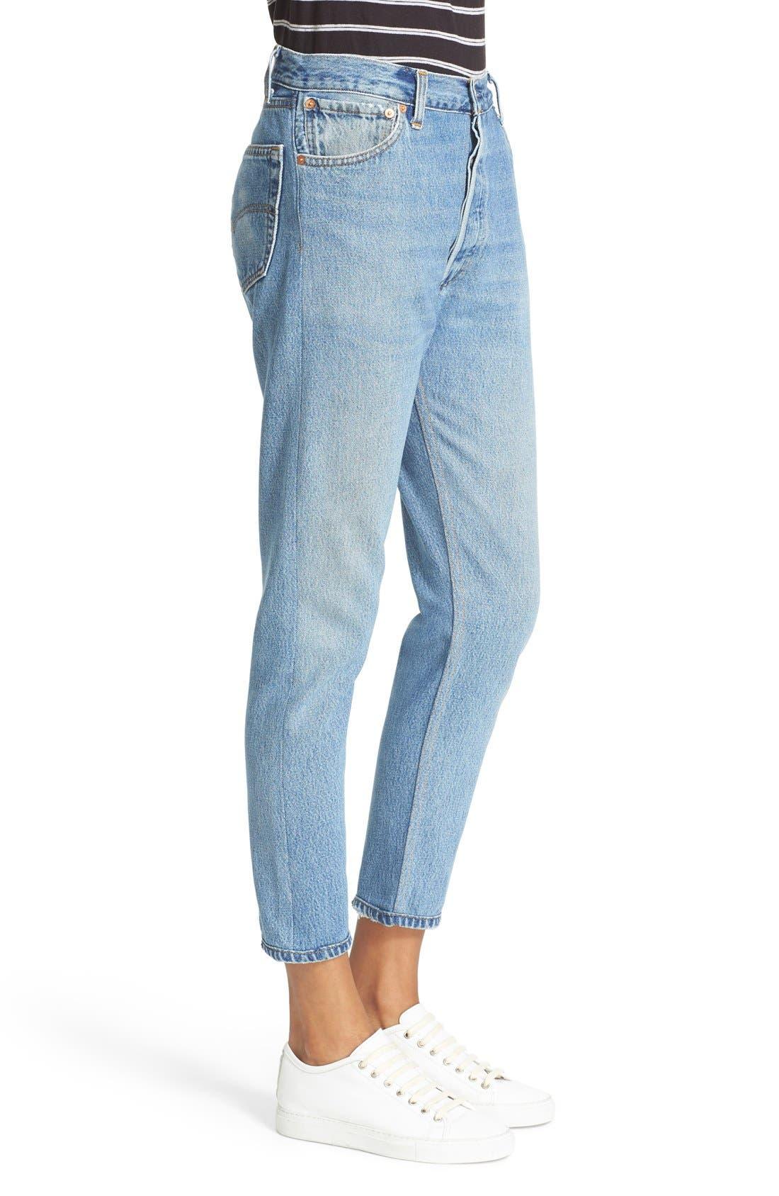 Reconstructed High Waist Ankle Crop Jeans,                             Alternate thumbnail 4, color,                             NO DESTRUCTION