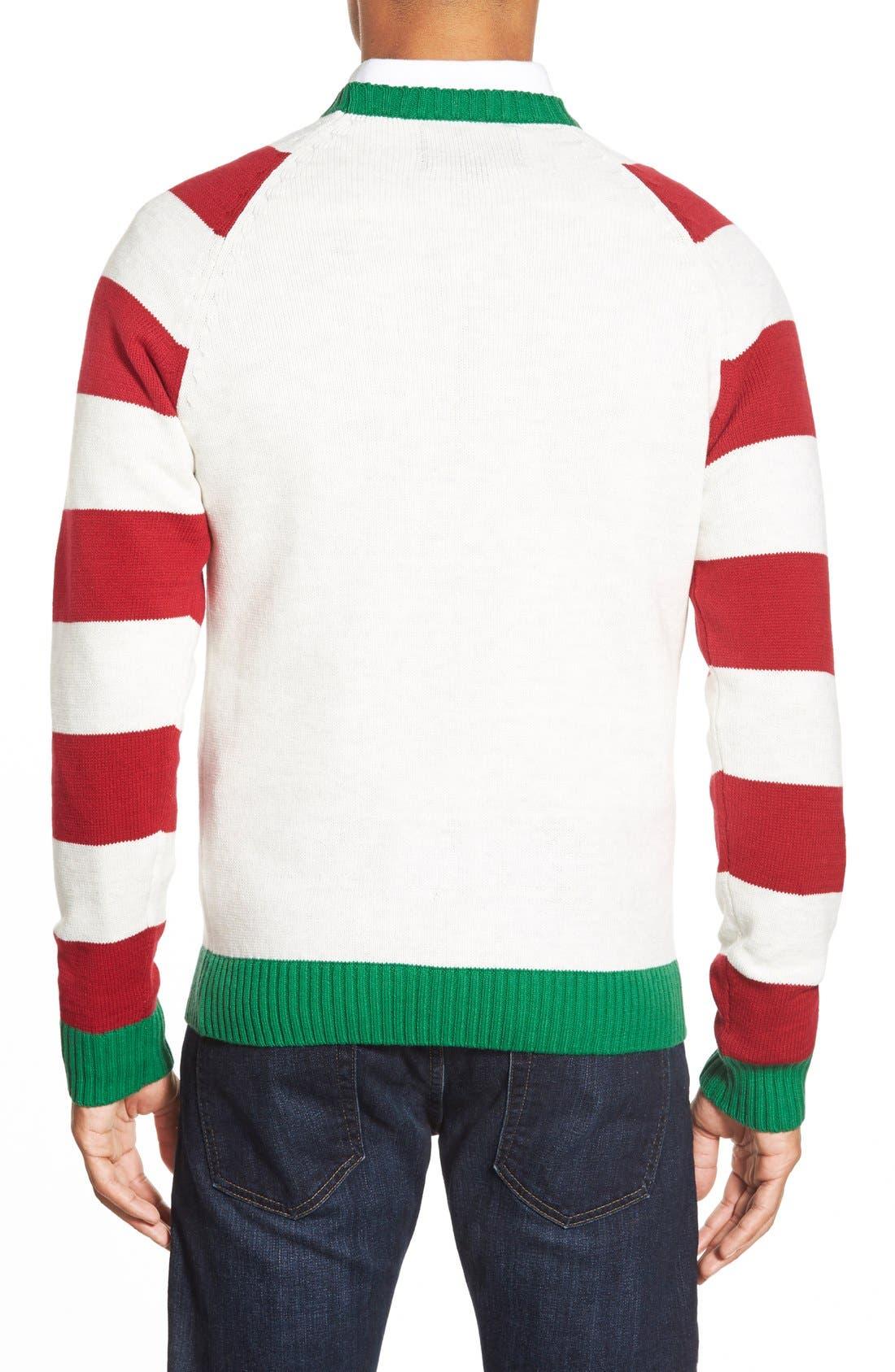 'Reindeer Stripe' Holiday Crewneck Sweater,                             Alternate thumbnail 2, color,                             100