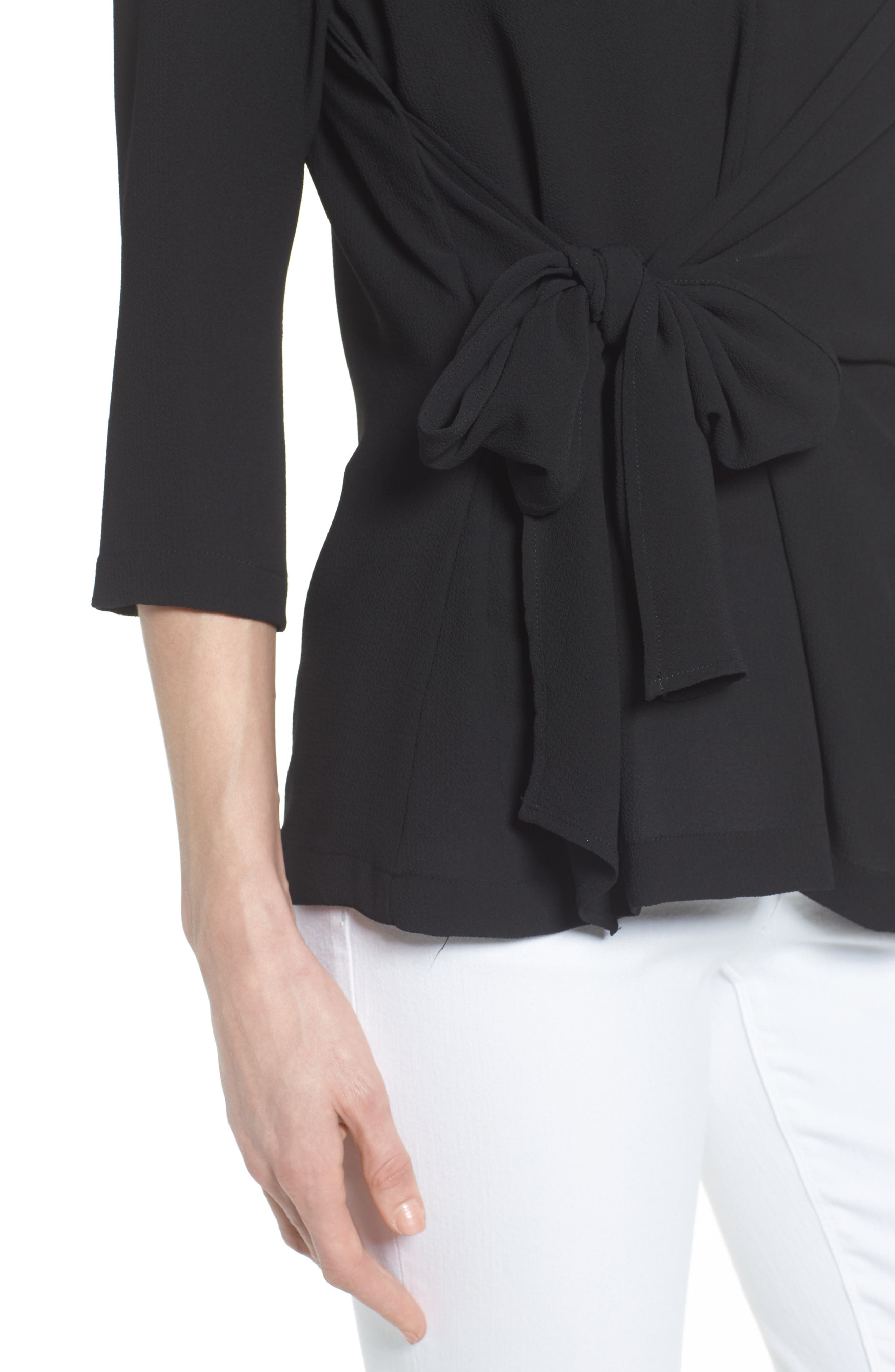 GIBSON,                             Tie Front Crepe Top,                             Alternate thumbnail 4, color,                             001