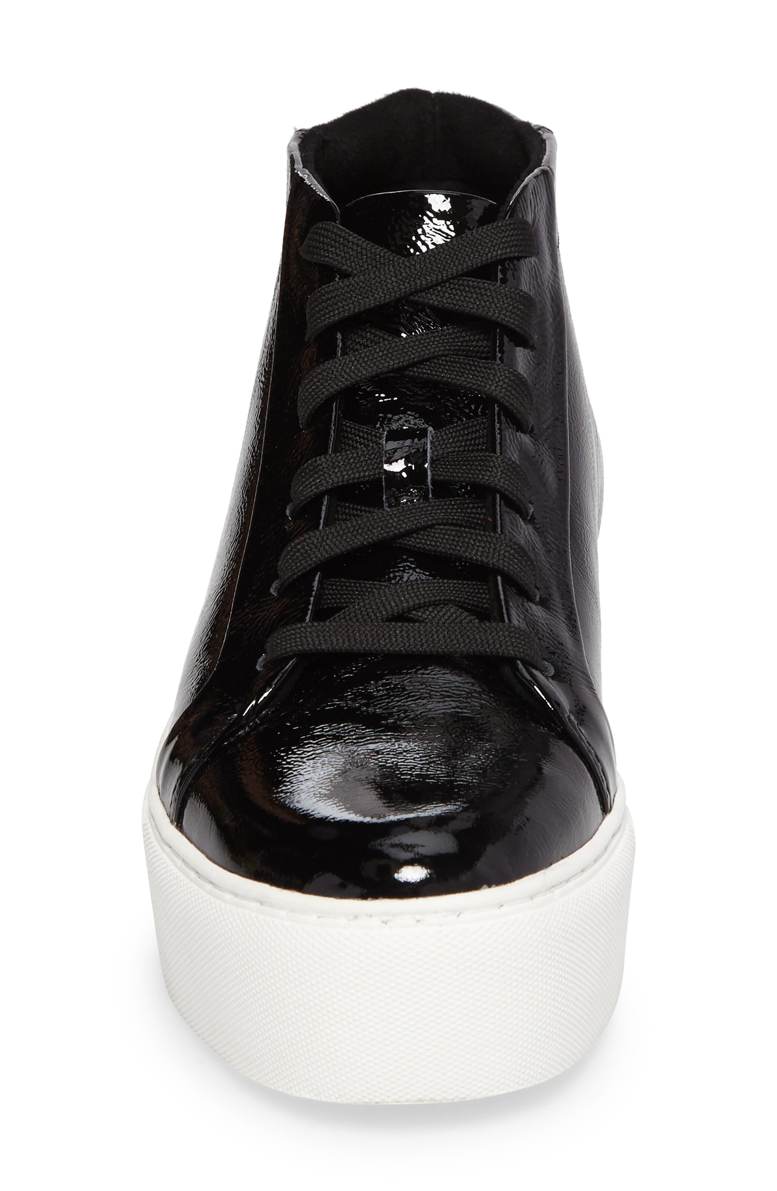 Janette High Top Platform Sneaker,                             Alternate thumbnail 4, color,                             BLACK PATENT LEATHER