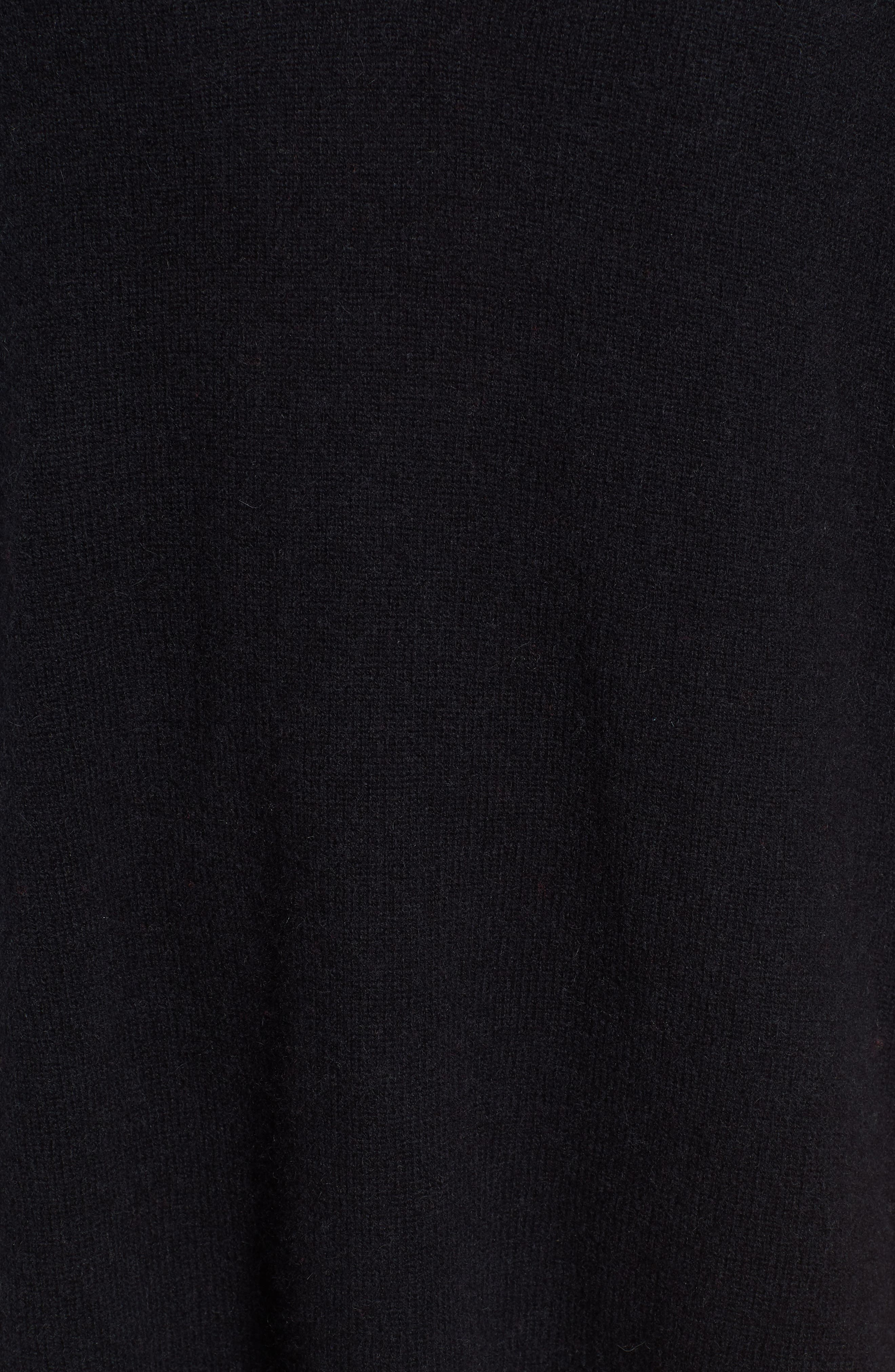 Cashmere Poncho,                             Alternate thumbnail 5, color,                             BLACK