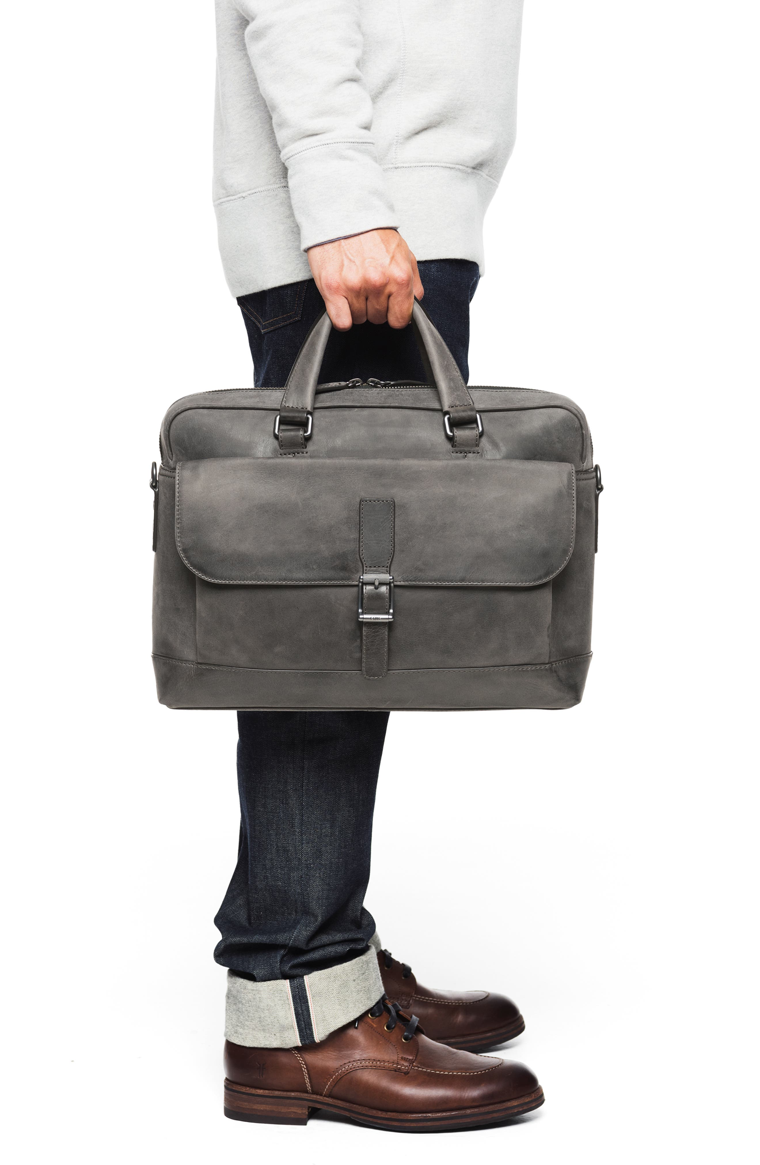 Oliver Leather Briefcase,                             Alternate thumbnail 2, color,                             SLATE