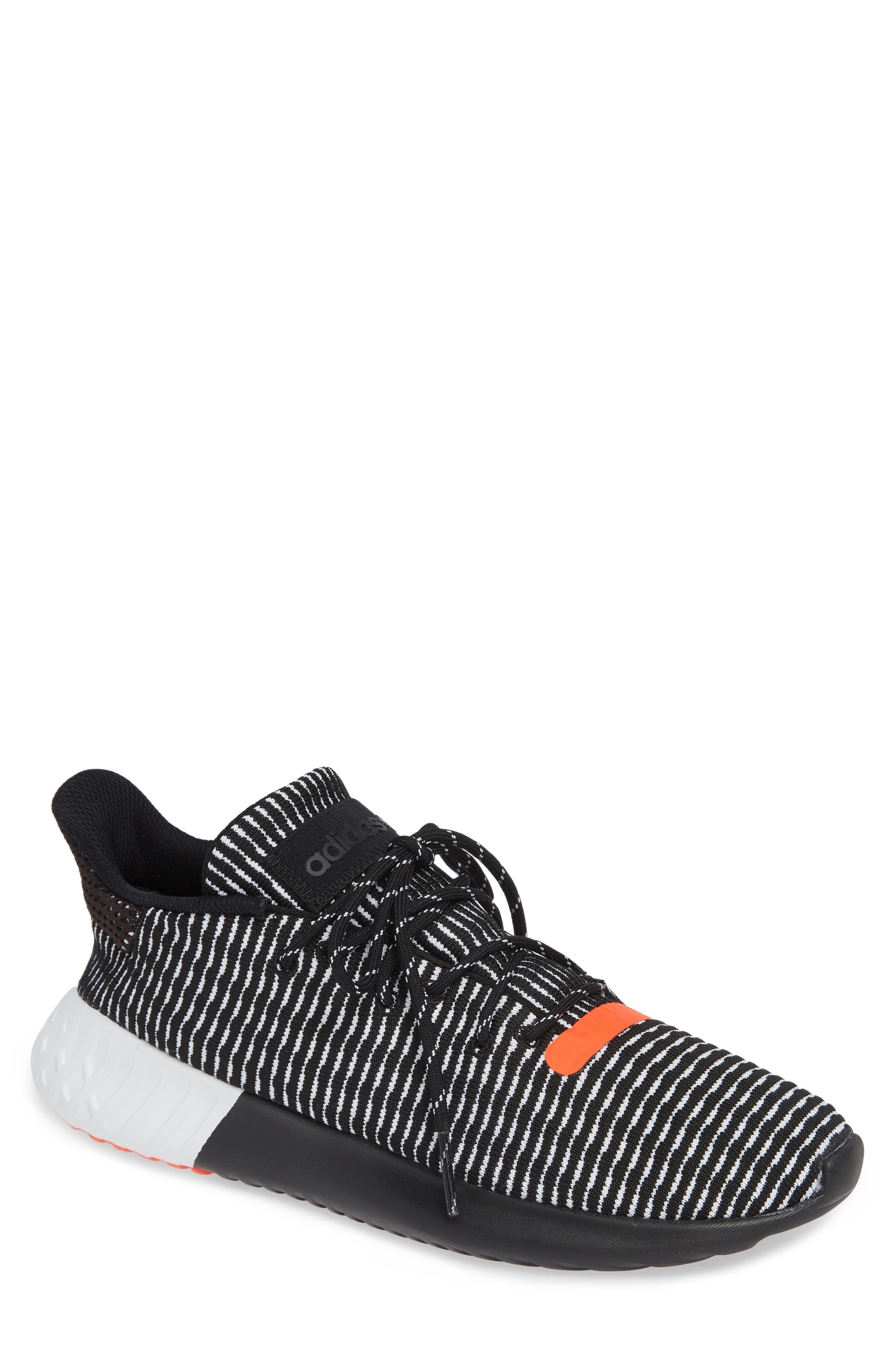 Tubular Dusk Primeknit Sneaker,                         Main,                         color, BLACK/ WHITE/ SOLAR RED