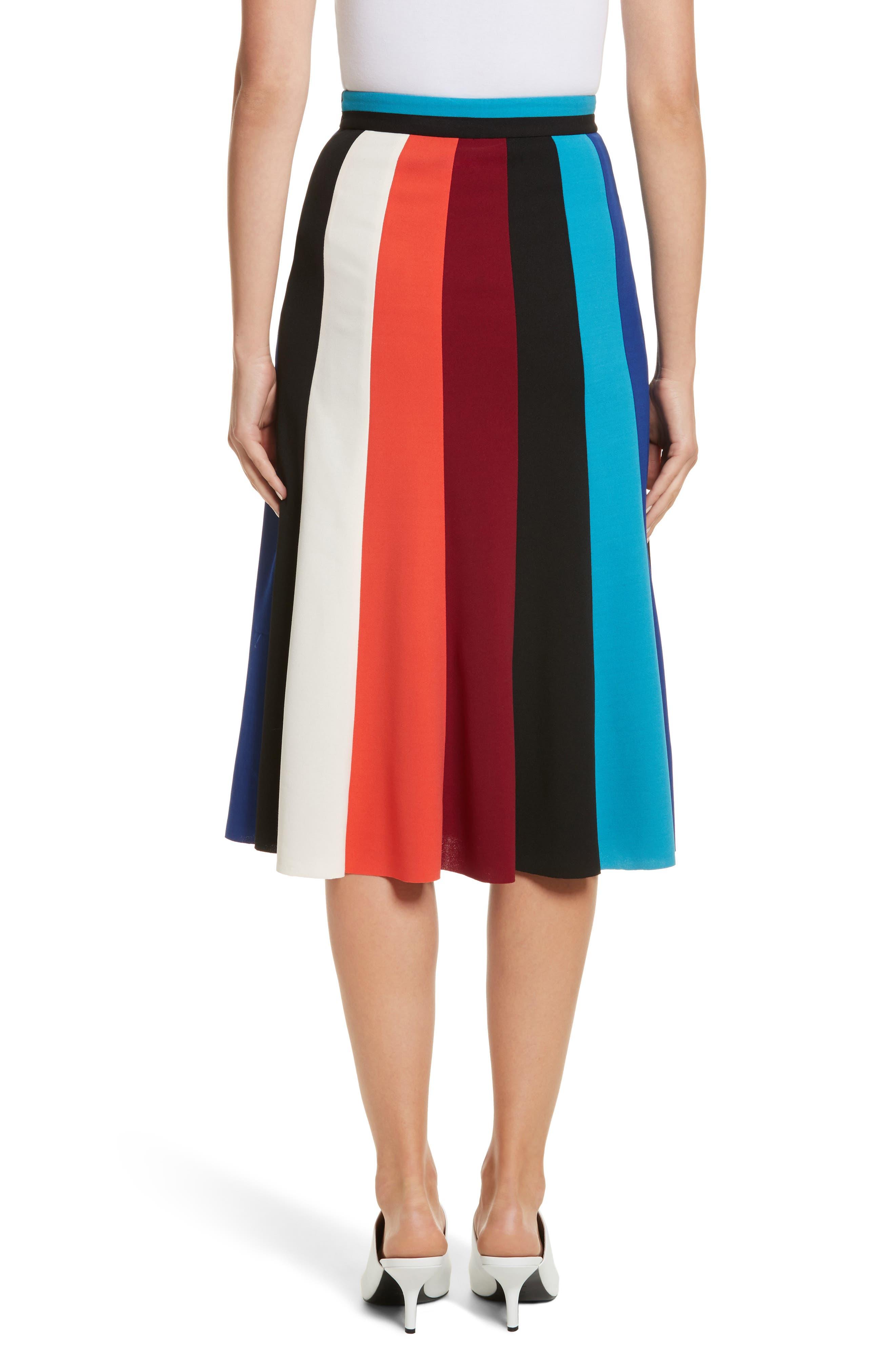 Colorblock Stripe Flared Skirt,                             Alternate thumbnail 2, color,                             498