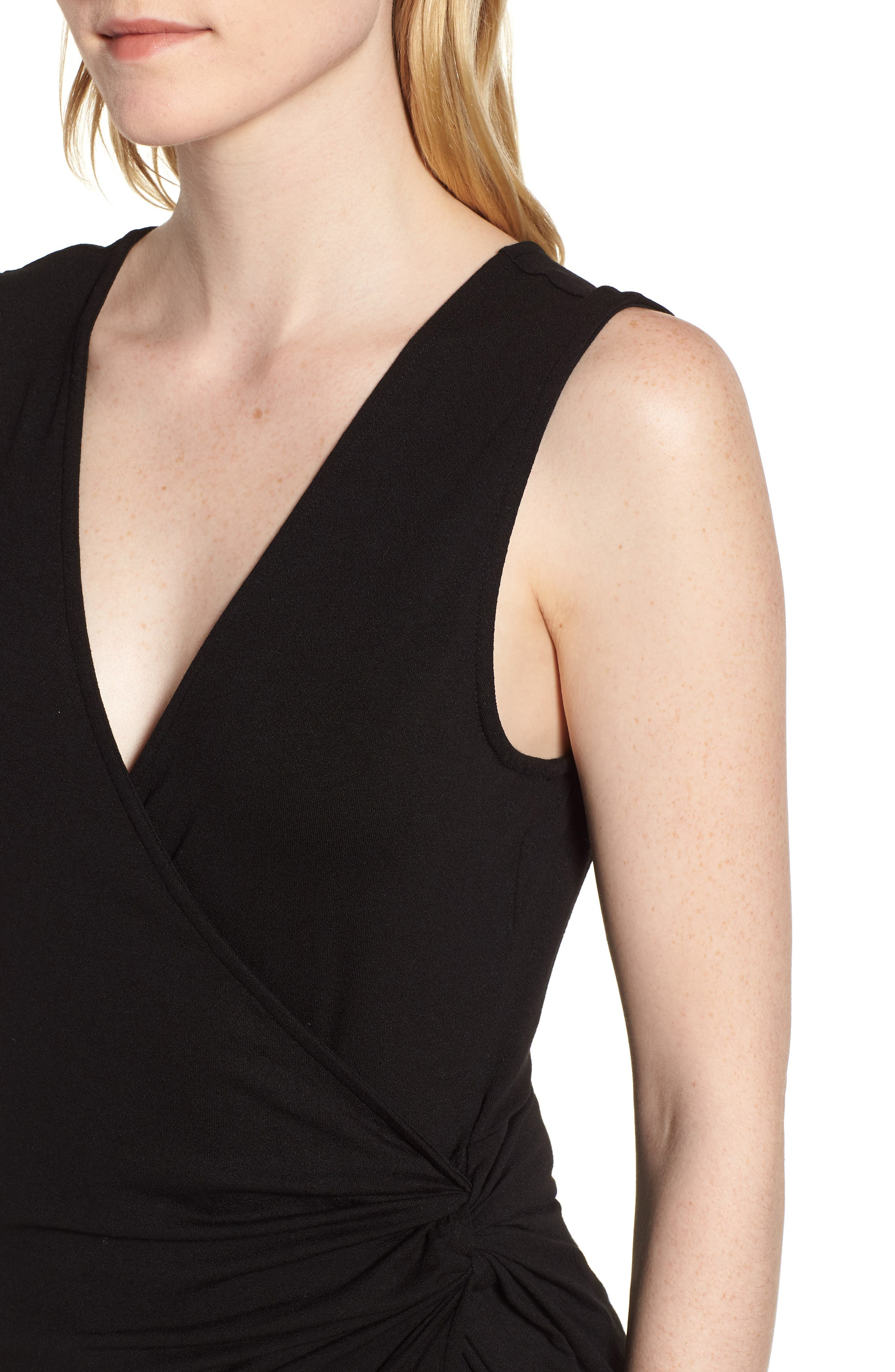 Side Knot Ruched Tank Top,                             Alternate thumbnail 4, color,                             001