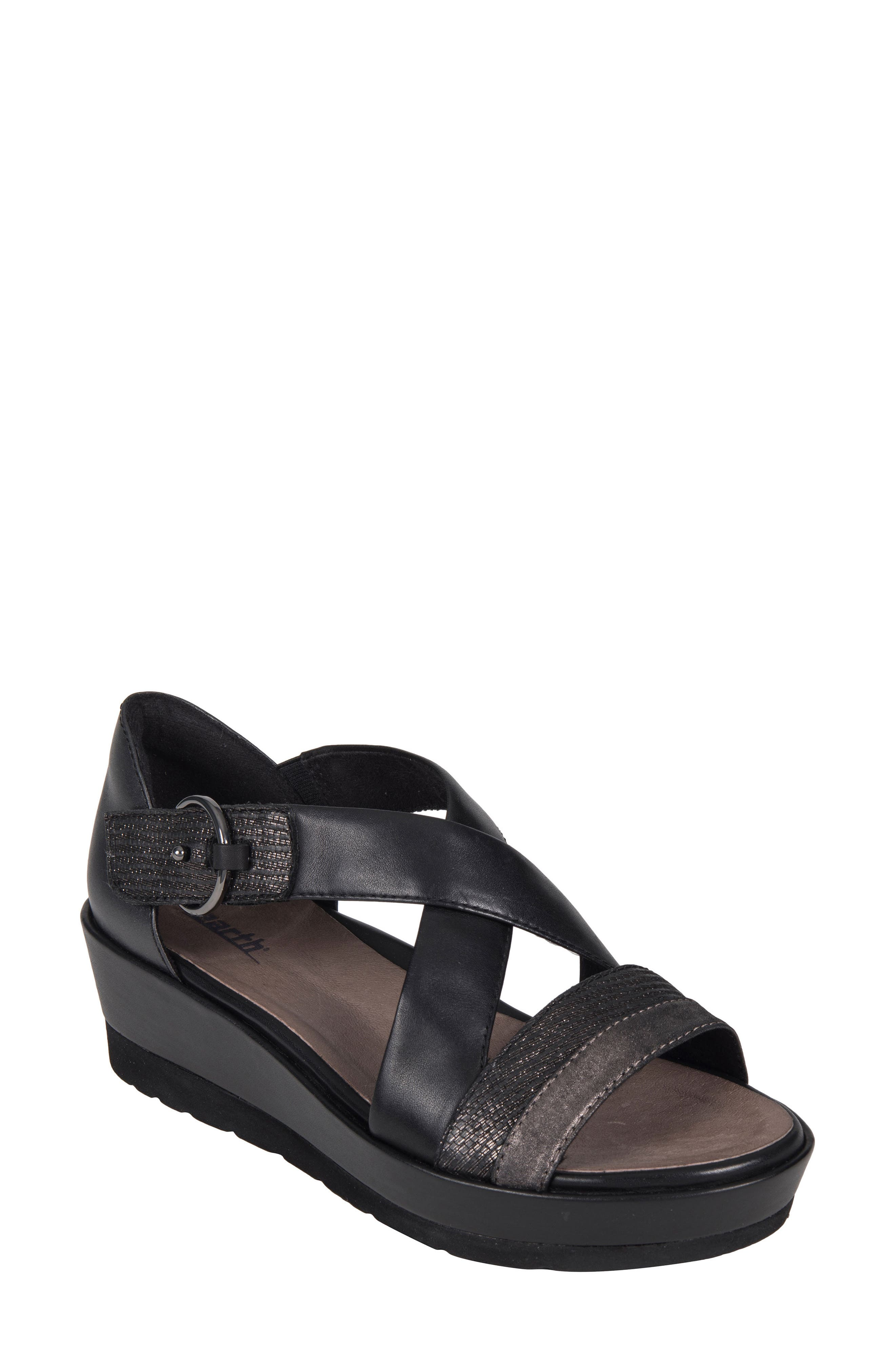 Hibiscus Sandal,                             Main thumbnail 1, color,                             BLACK LEATHER