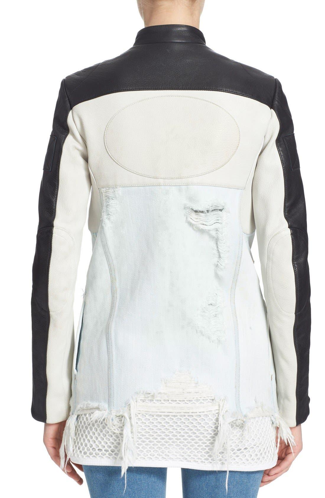 Hybrid Moto & Denim Jacket,                             Alternate thumbnail 5, color,                             001
