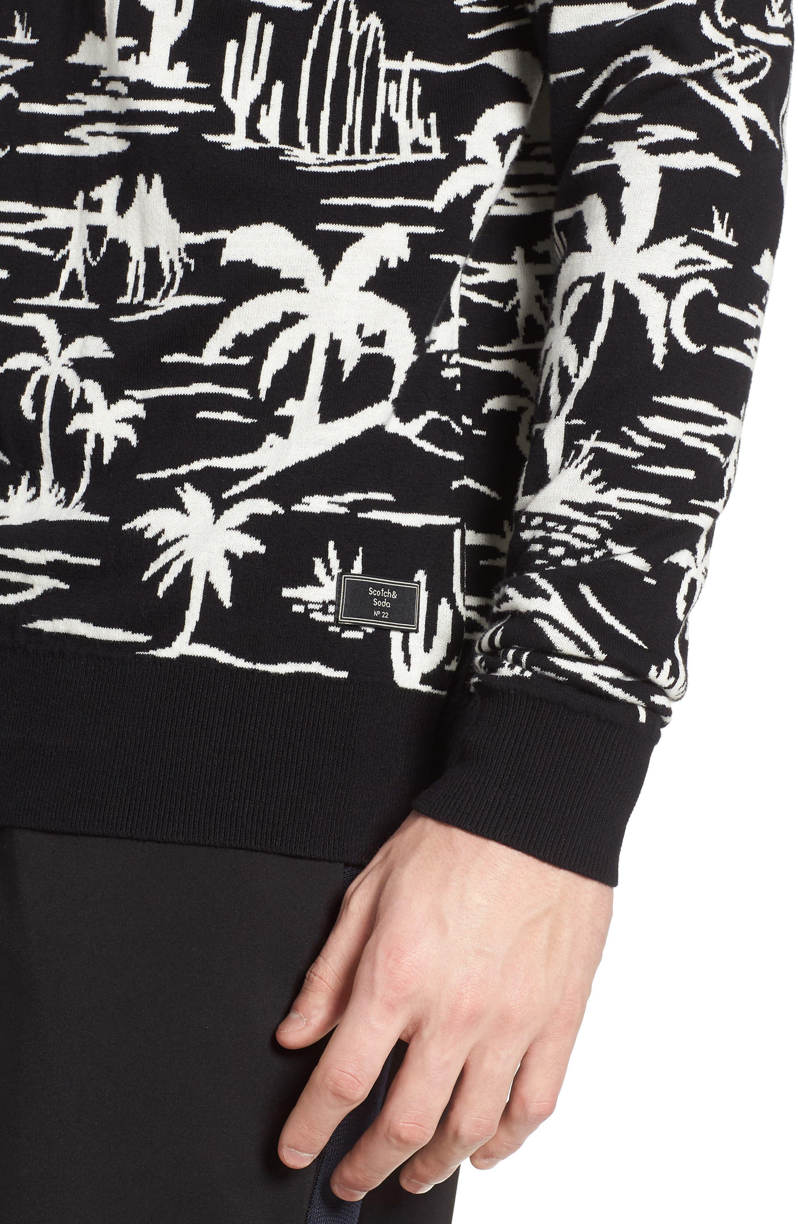 Jacquard Pattern Sweatshirt,                             Alternate thumbnail 4, color,                             002