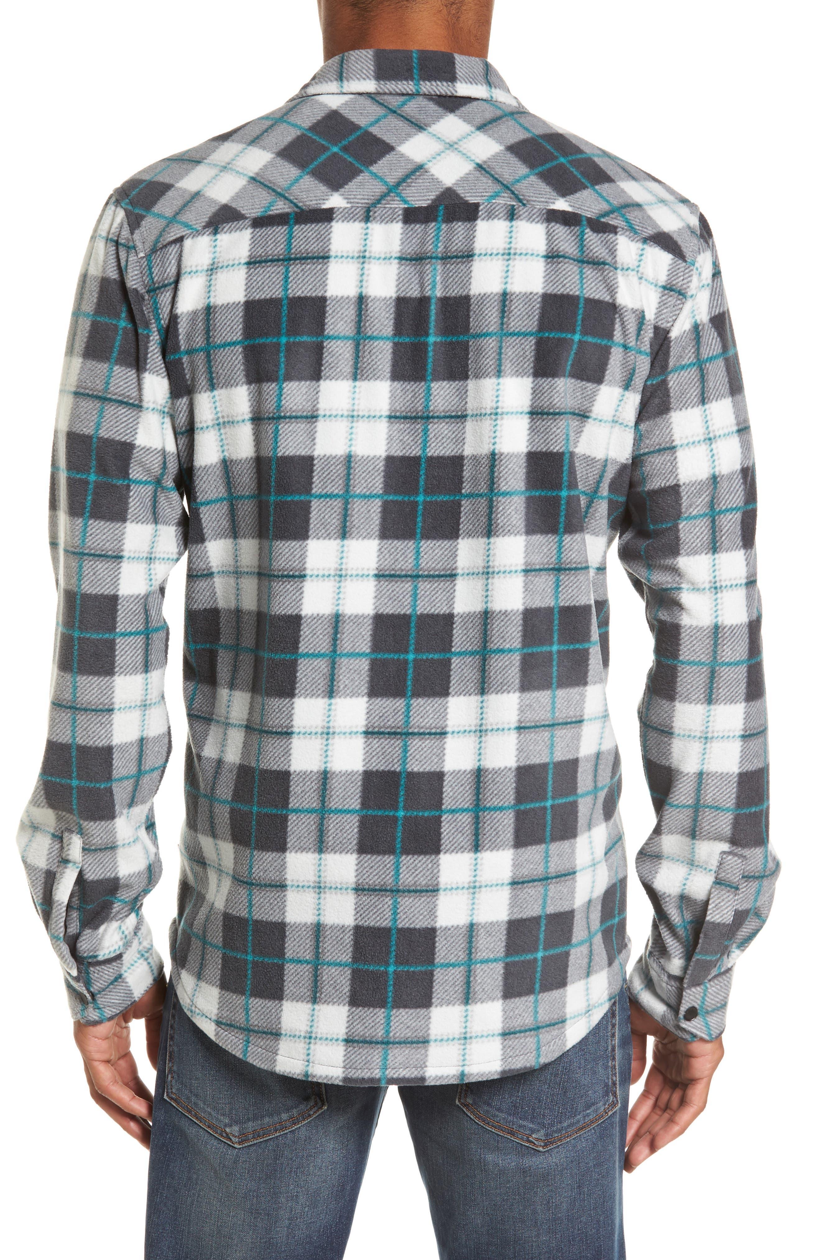 Glacier Plaid Fleece Flannel Shirt,                             Alternate thumbnail 9, color,