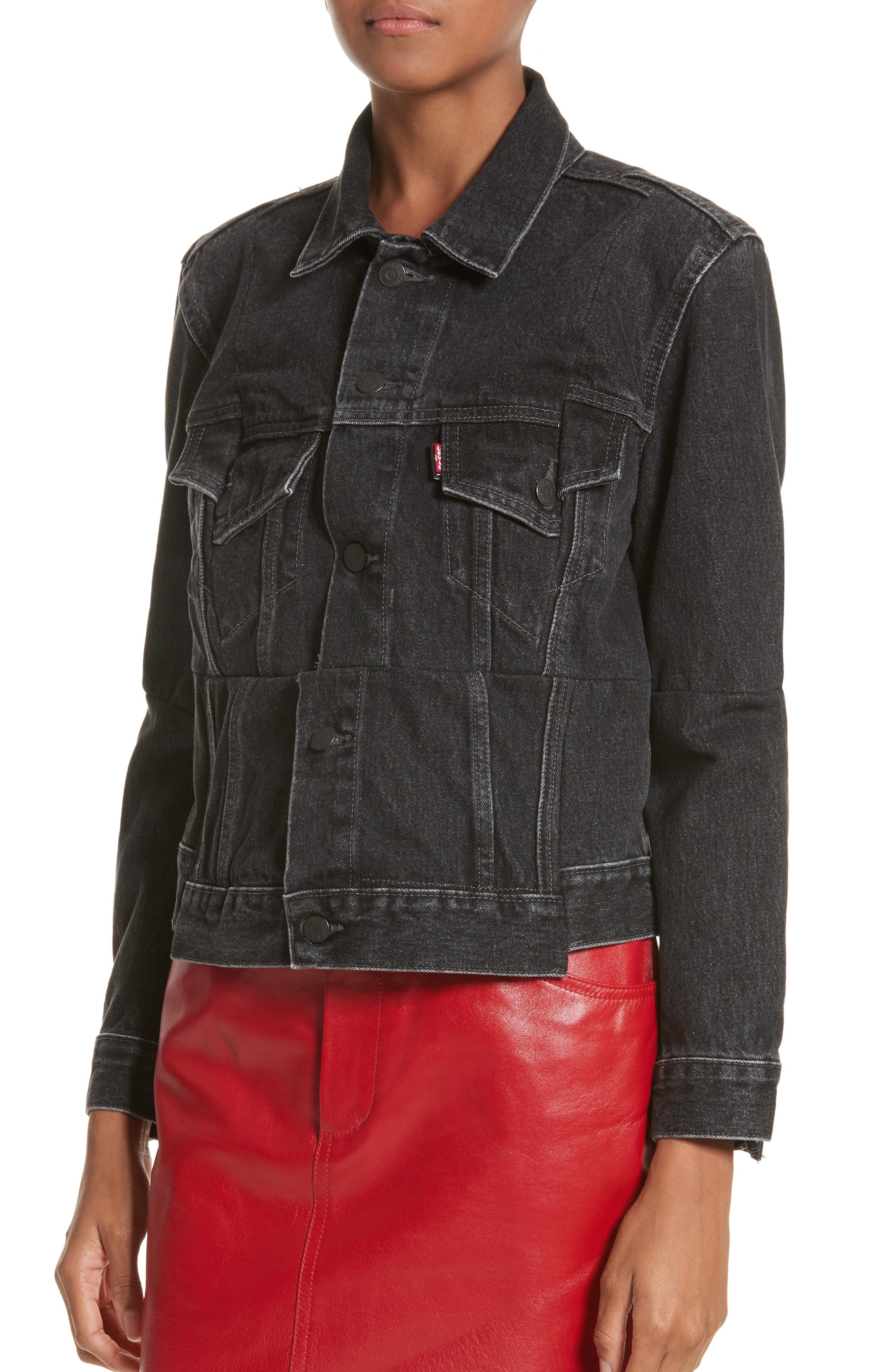 Reworked Denim Jacket,                             Alternate thumbnail 4, color,                             001