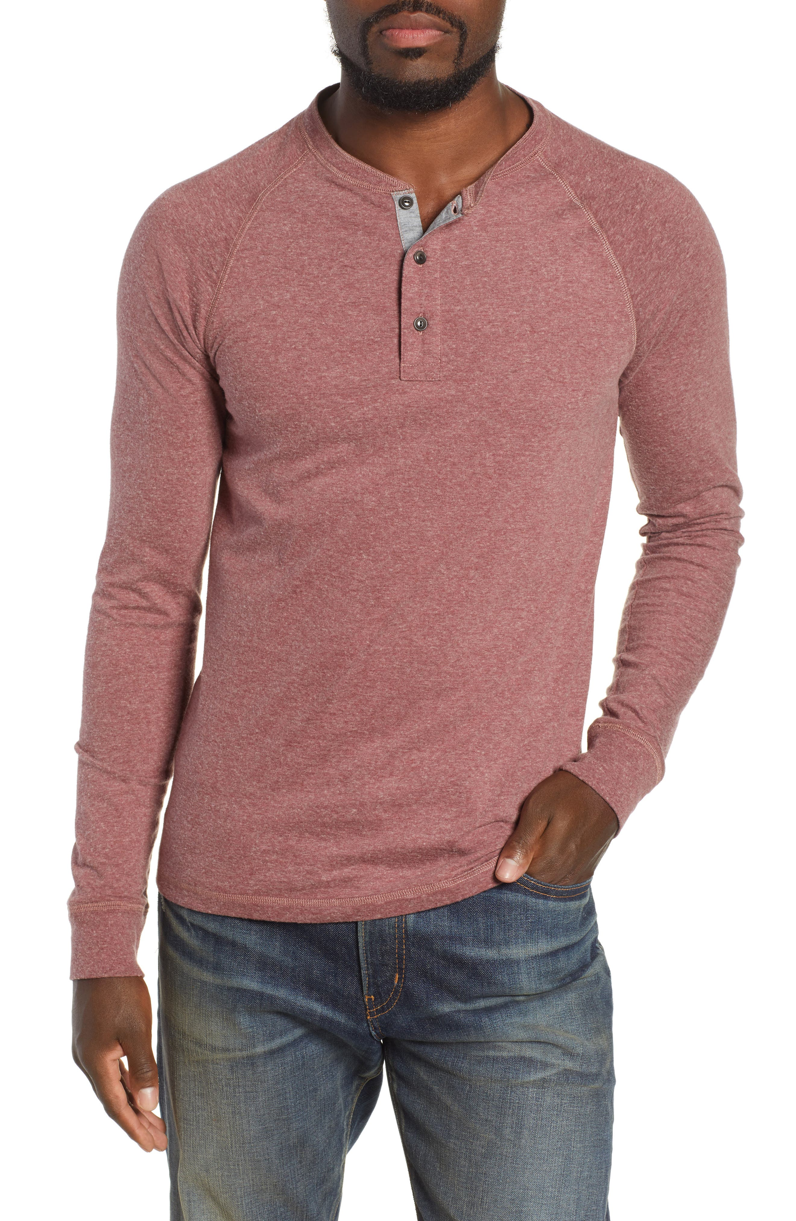 Luxe Heather Knit Organic Cotton Henley,                             Main thumbnail 1, color,                             BURGUNDY