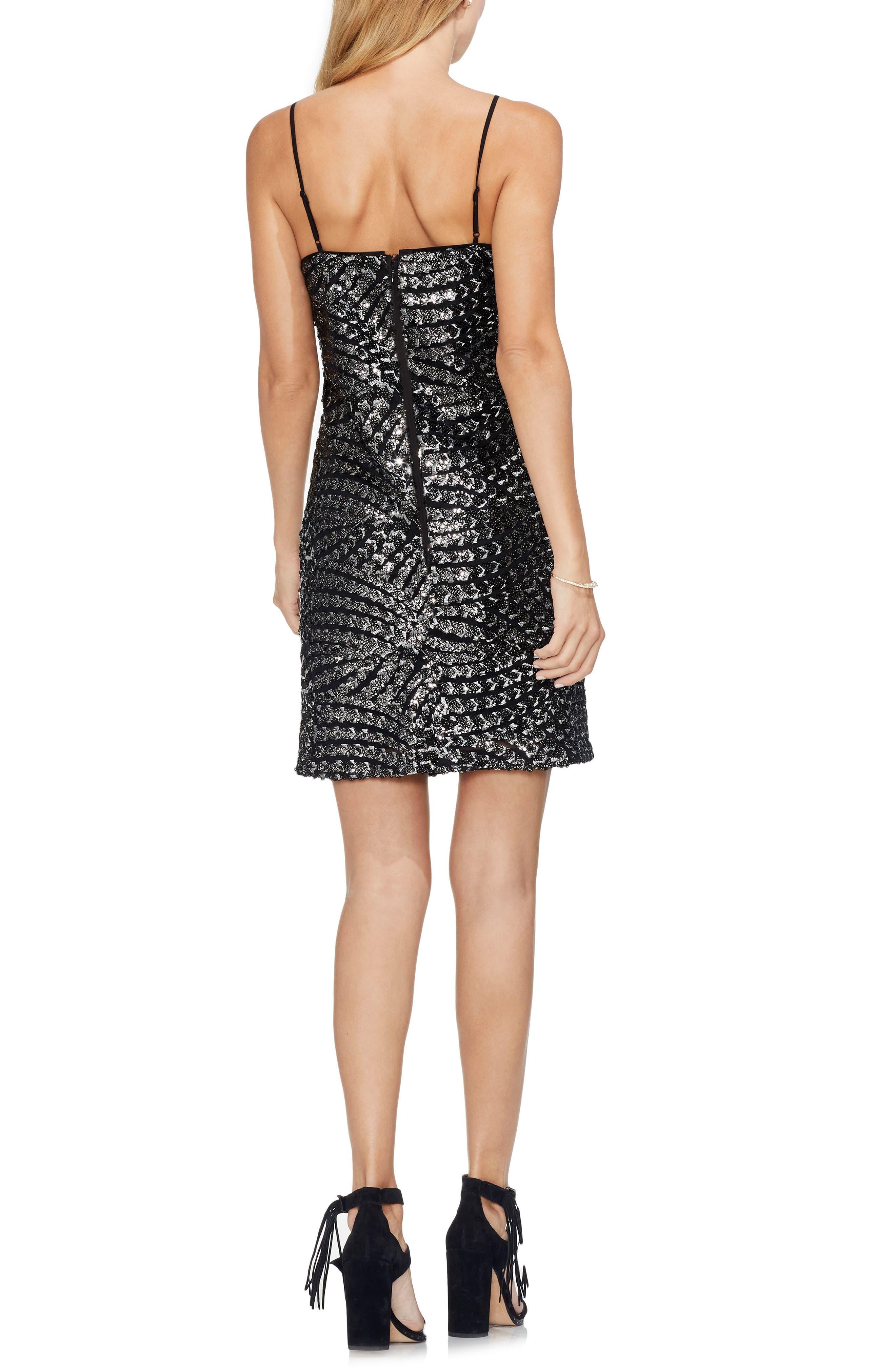 Silver Fan Sequin Camisole Dress,                             Alternate thumbnail 2, color,                             RICH BLACK