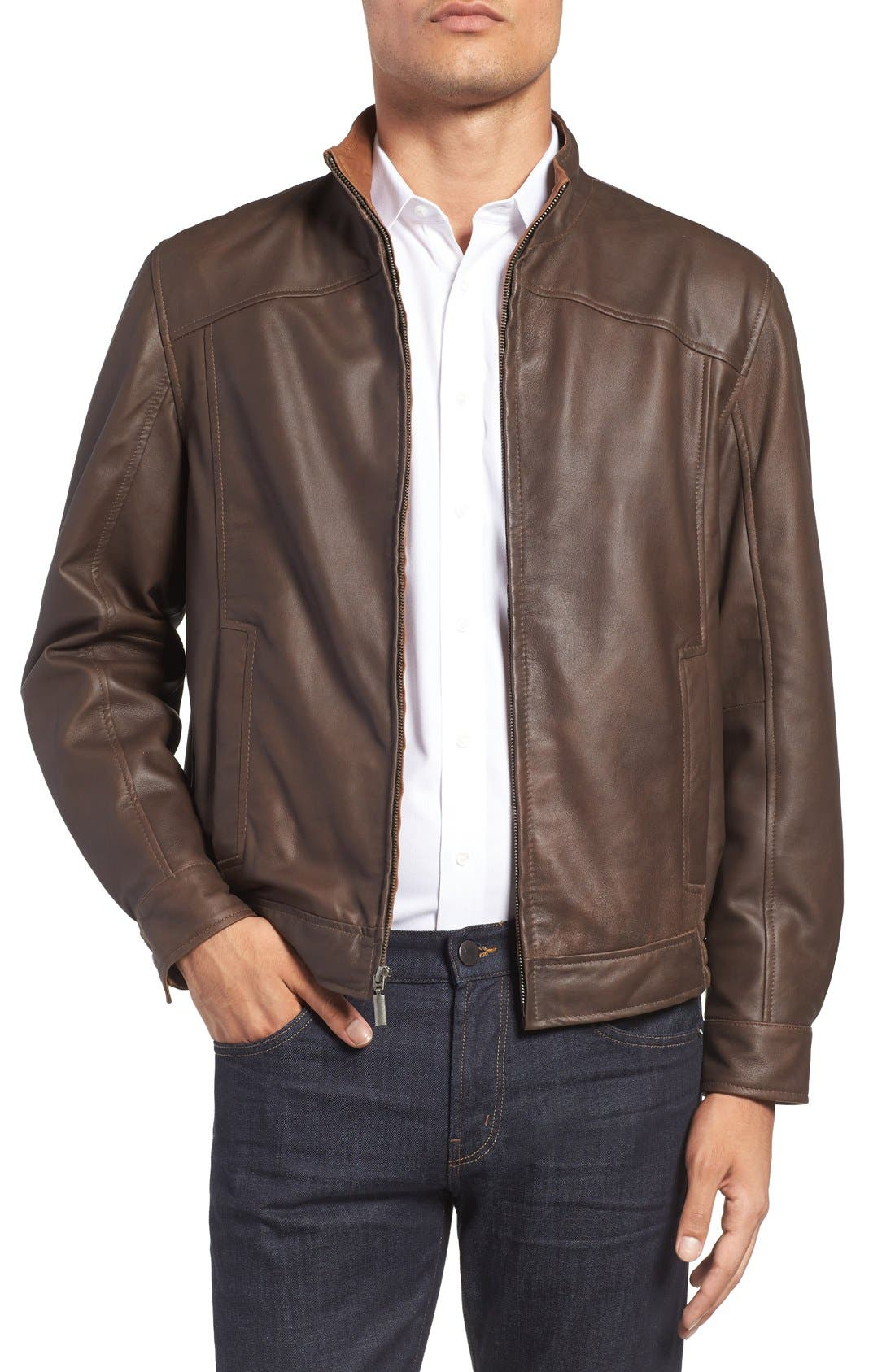 Leather Bomber Jacket,                             Main thumbnail 1, color,