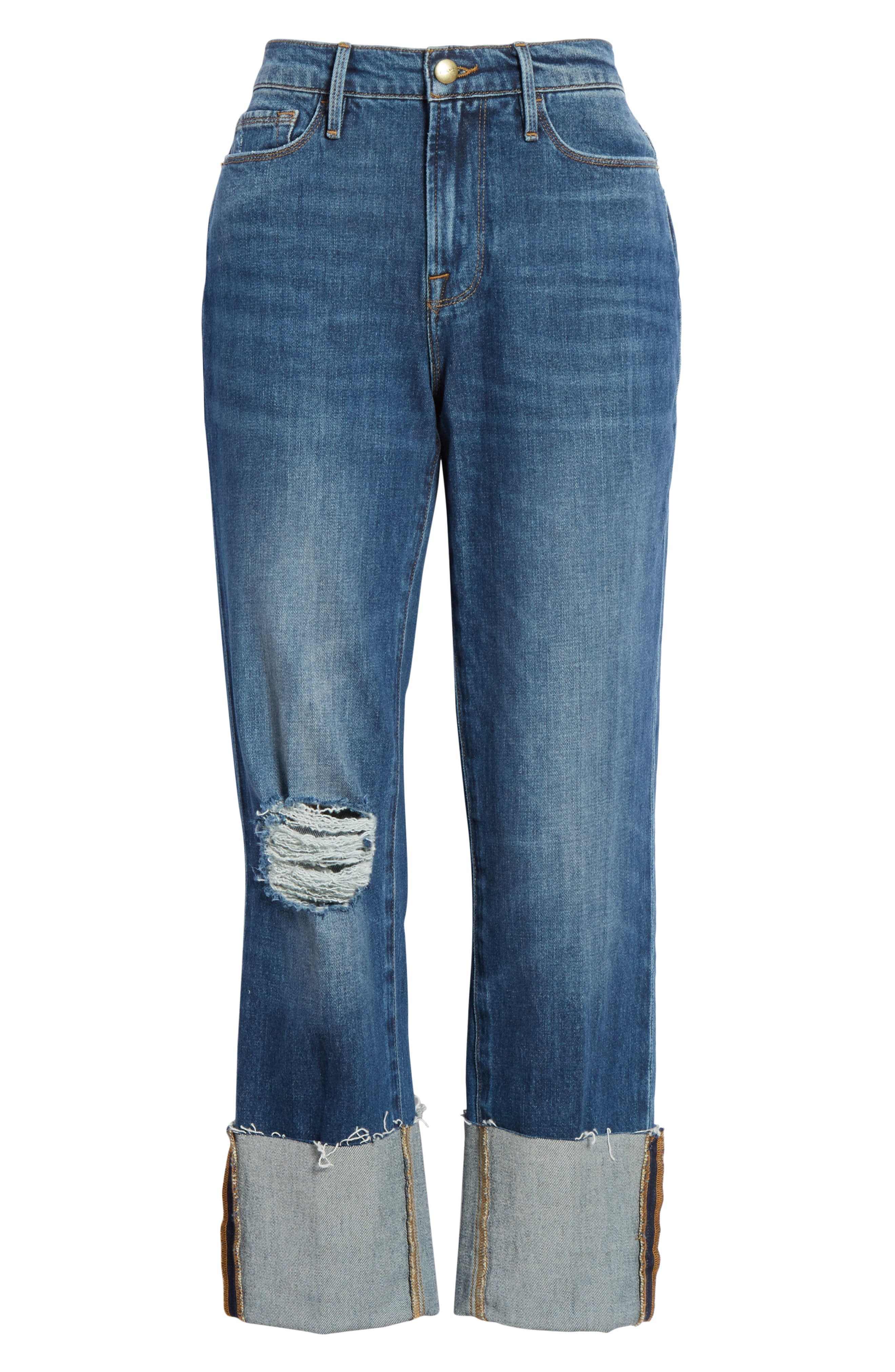 Le Nouveau Straight Leg Big Cuff Jeans,                             Alternate thumbnail 6, color,                             TEIGAN