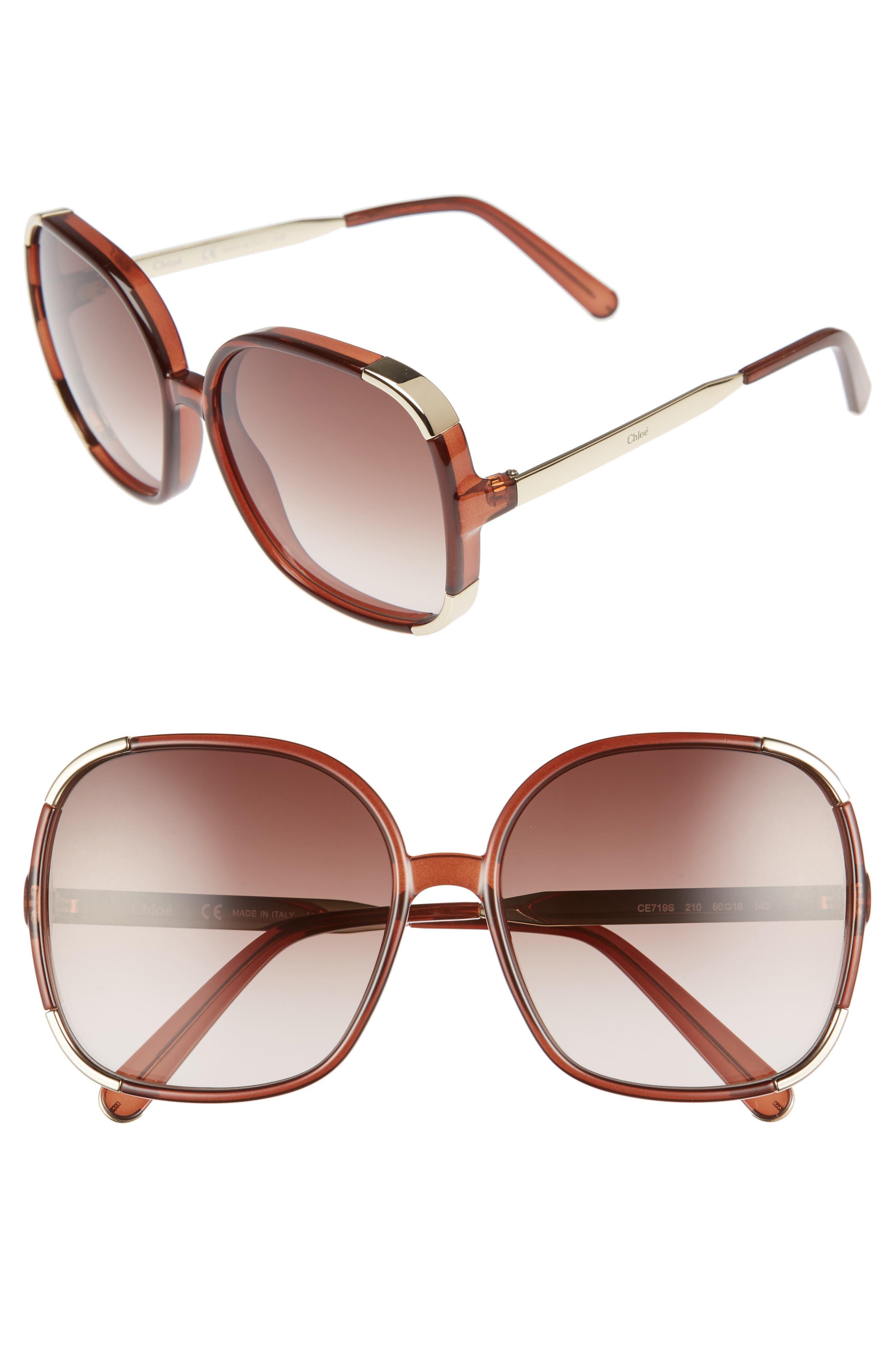 Myrte 61mm Gradient Lens Square Sunglasses,                             Main thumbnail 1, color,                             BROWN
