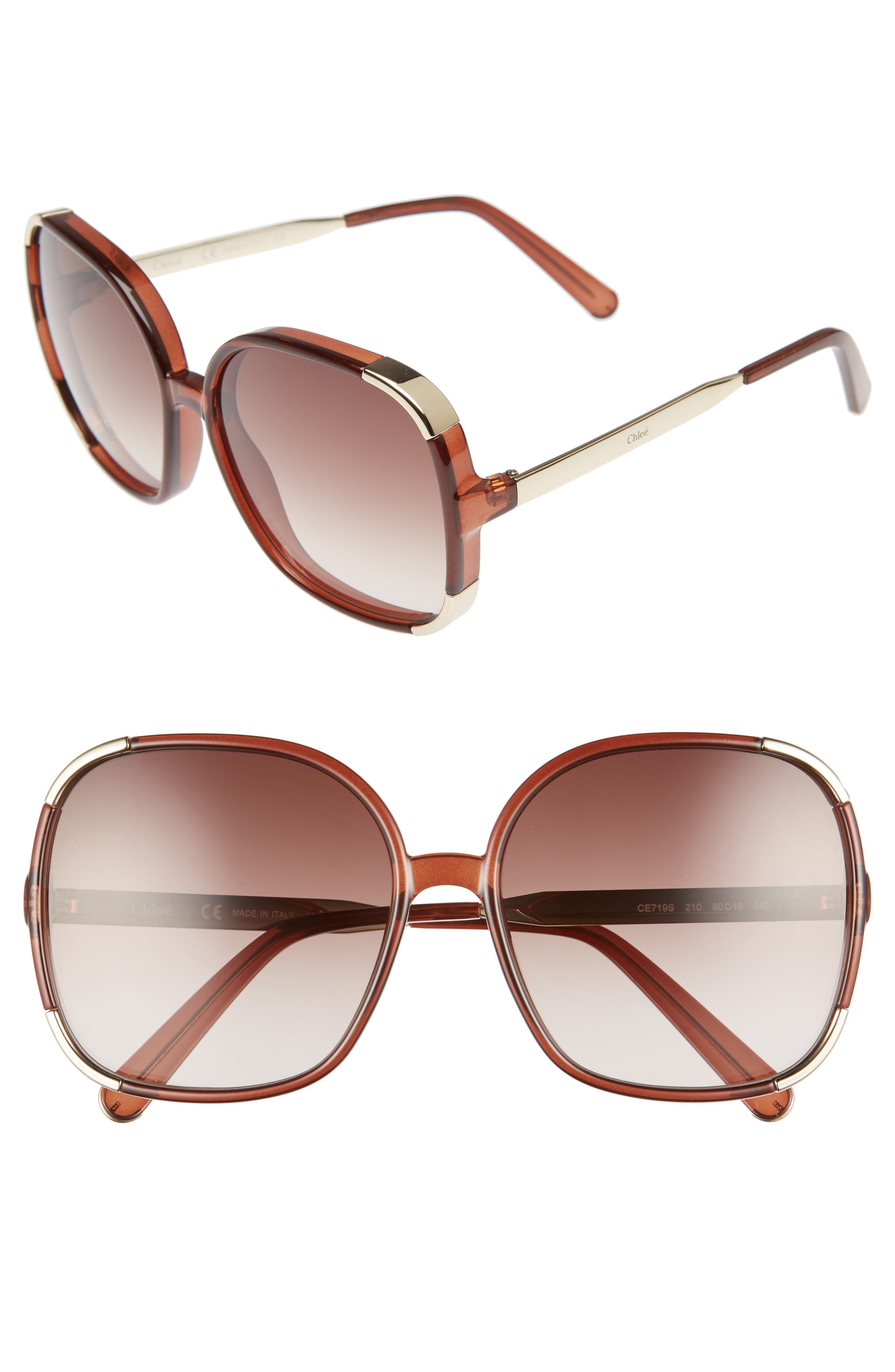Myrte 61mm Gradient Lens Square Sunglasses,                         Main,                         color, BROWN
