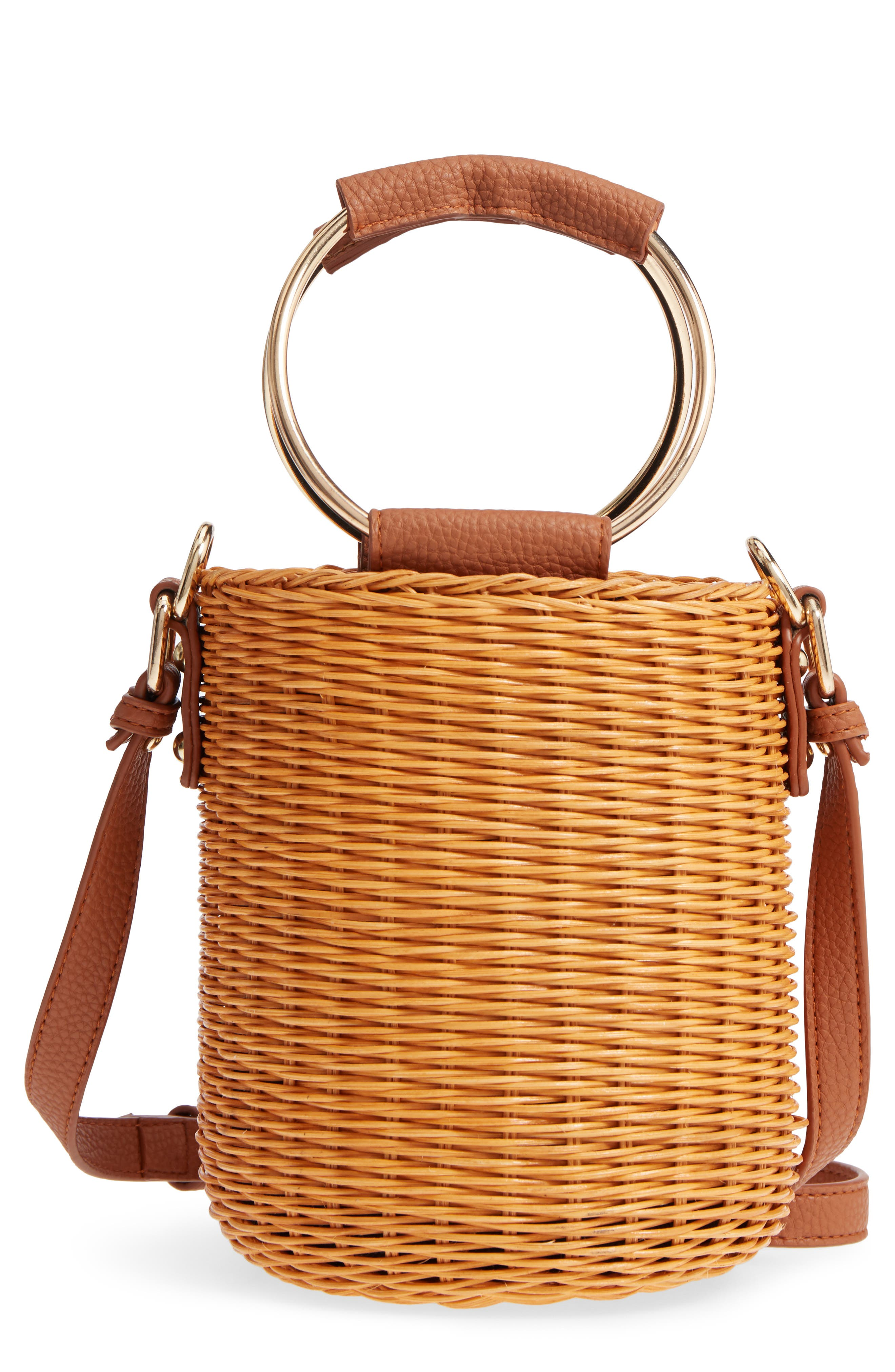 Metal Handle Straw Bucket Bag,                             Main thumbnail 1, color,                             243