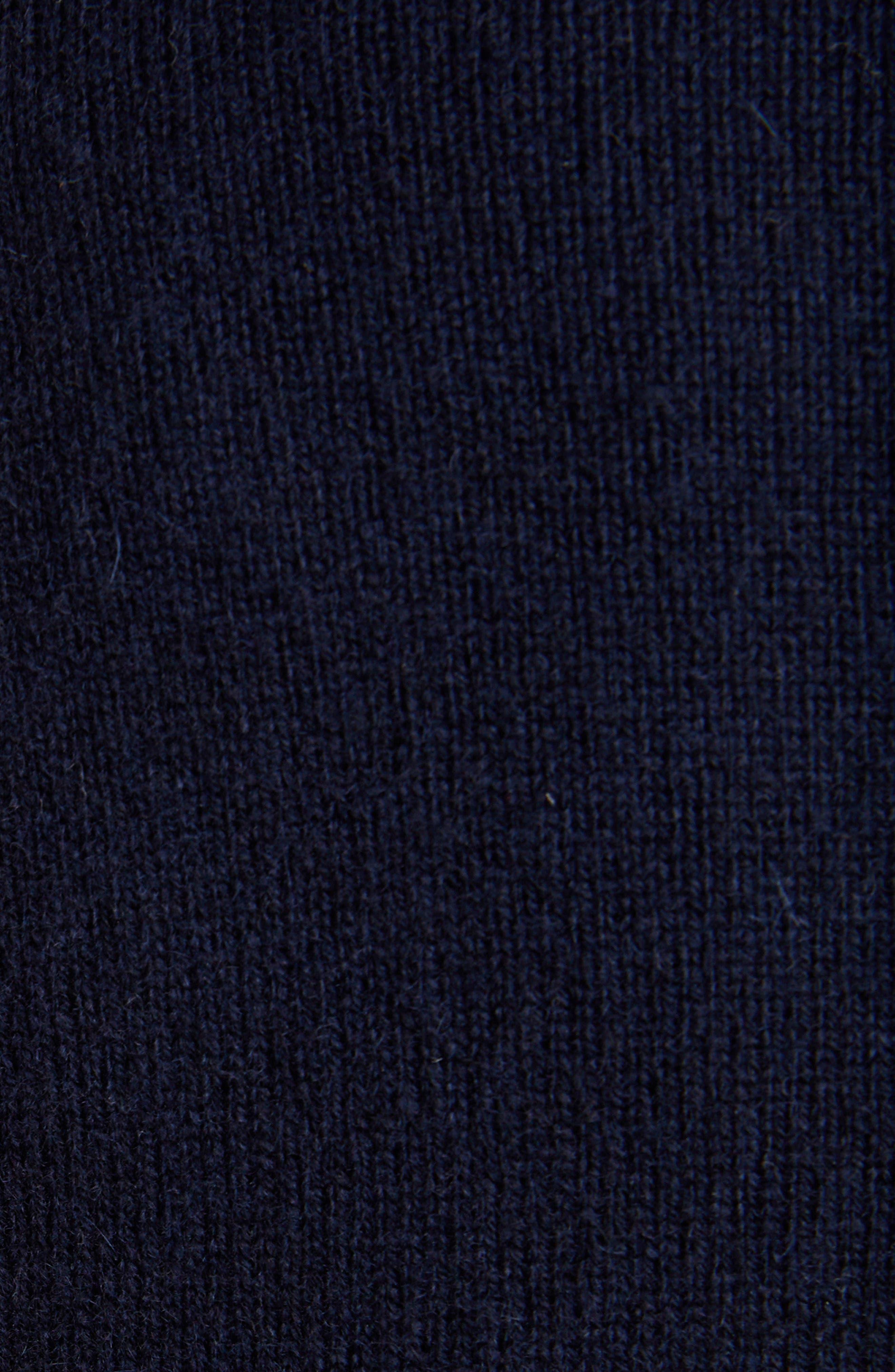 THOM BROWNE,                             Classic V-Neck Cashmere Cardigan,                             Alternate thumbnail 5, color,                             NAVY