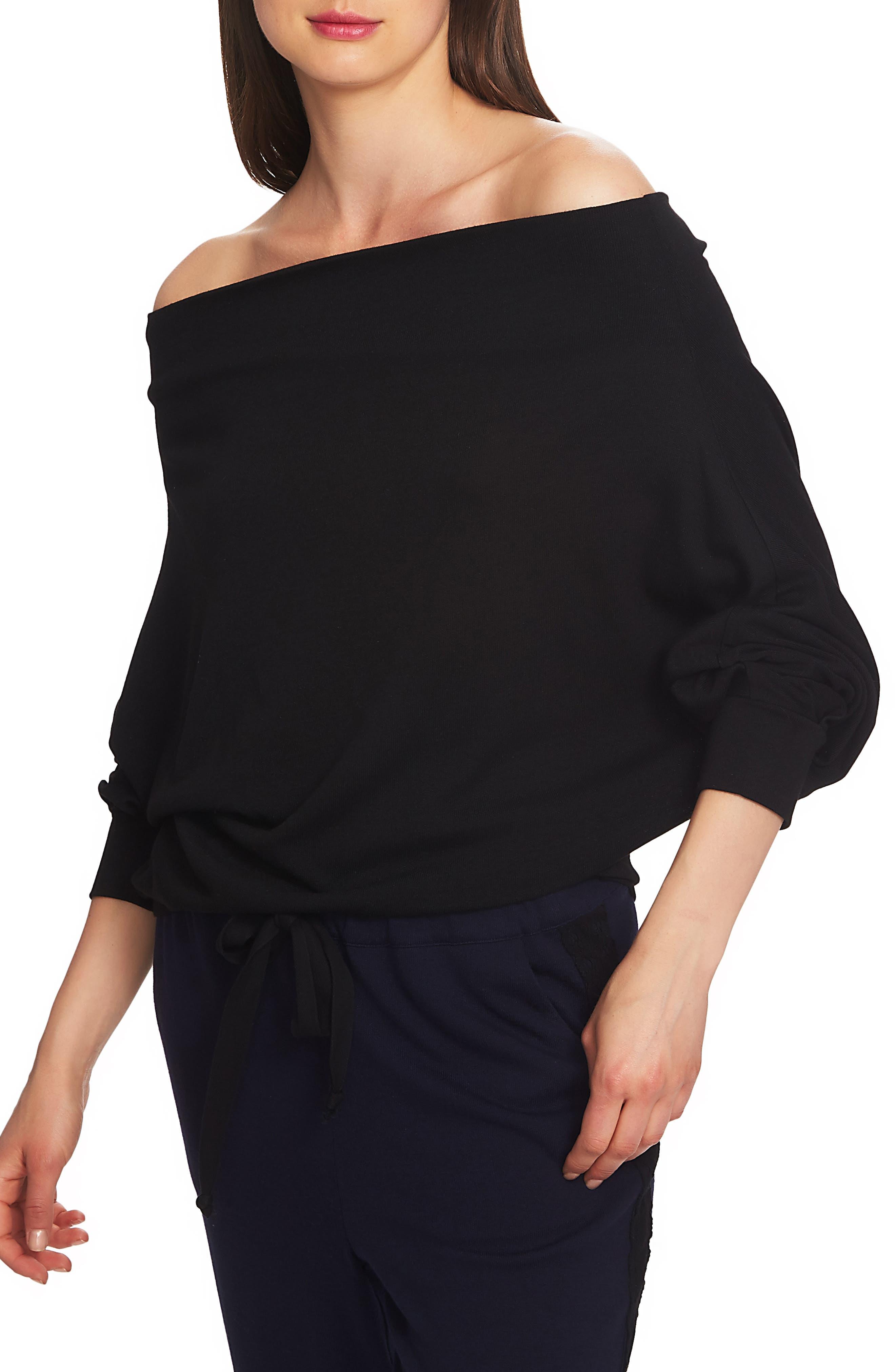 Off the Shoulder Sweater,                         Main,                         color, RICH BLACK