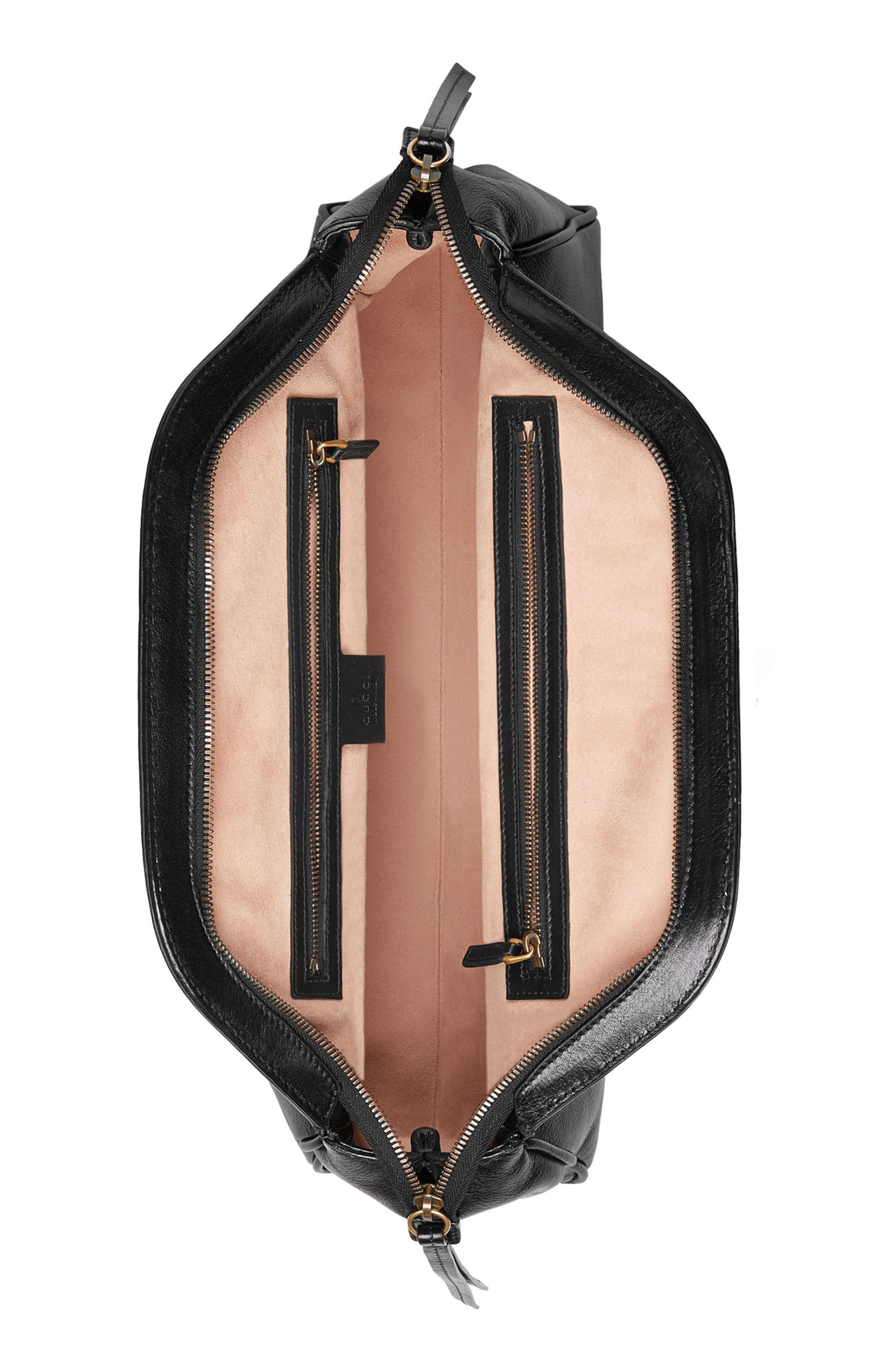 Medium RE(BELLE) Leather Satchel,                             Alternate thumbnail 4, color,                             NERO