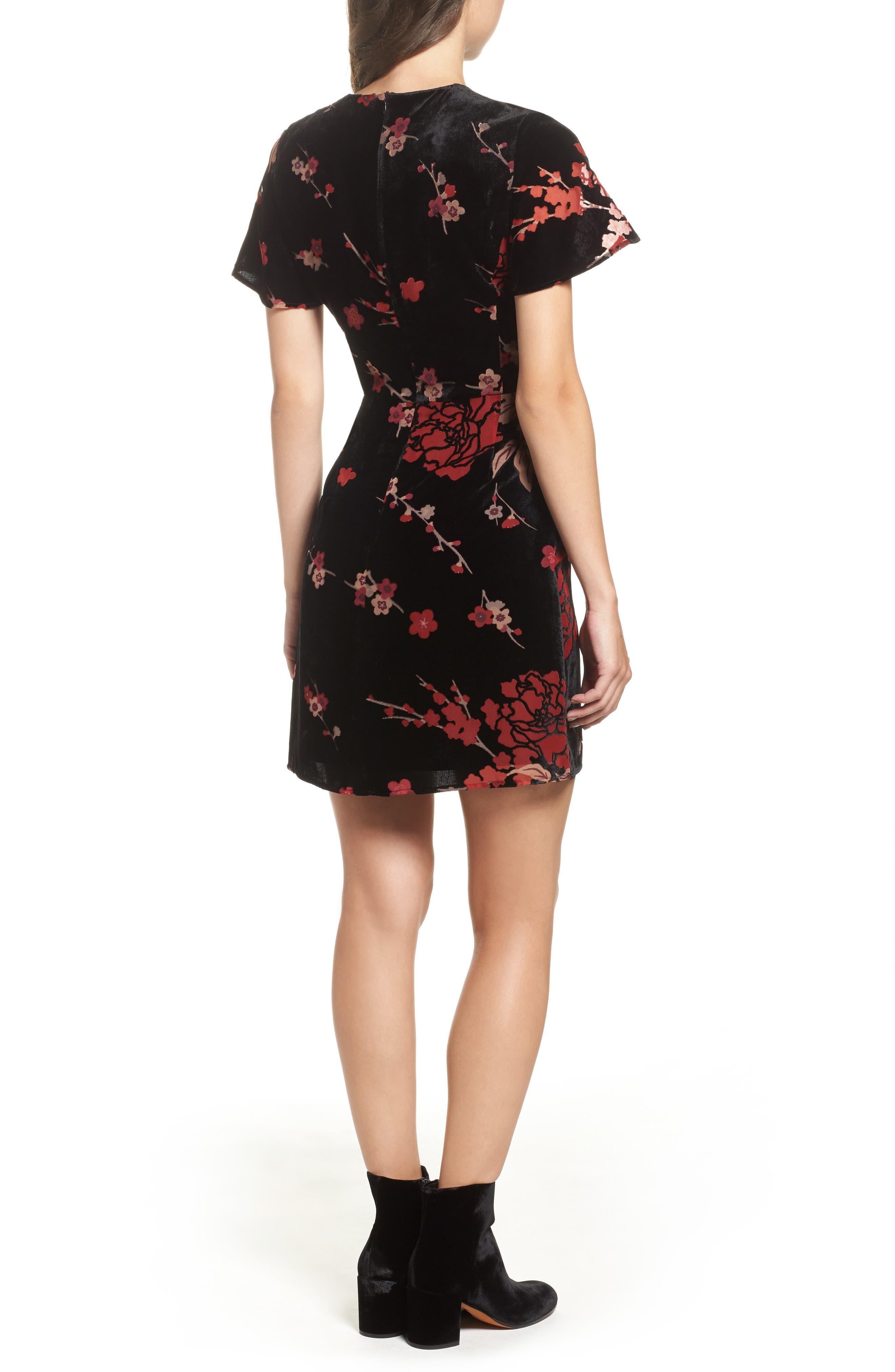 Wilma Devore Burnout Velvet A-Line Dress,                             Alternate thumbnail 2, color,                             017