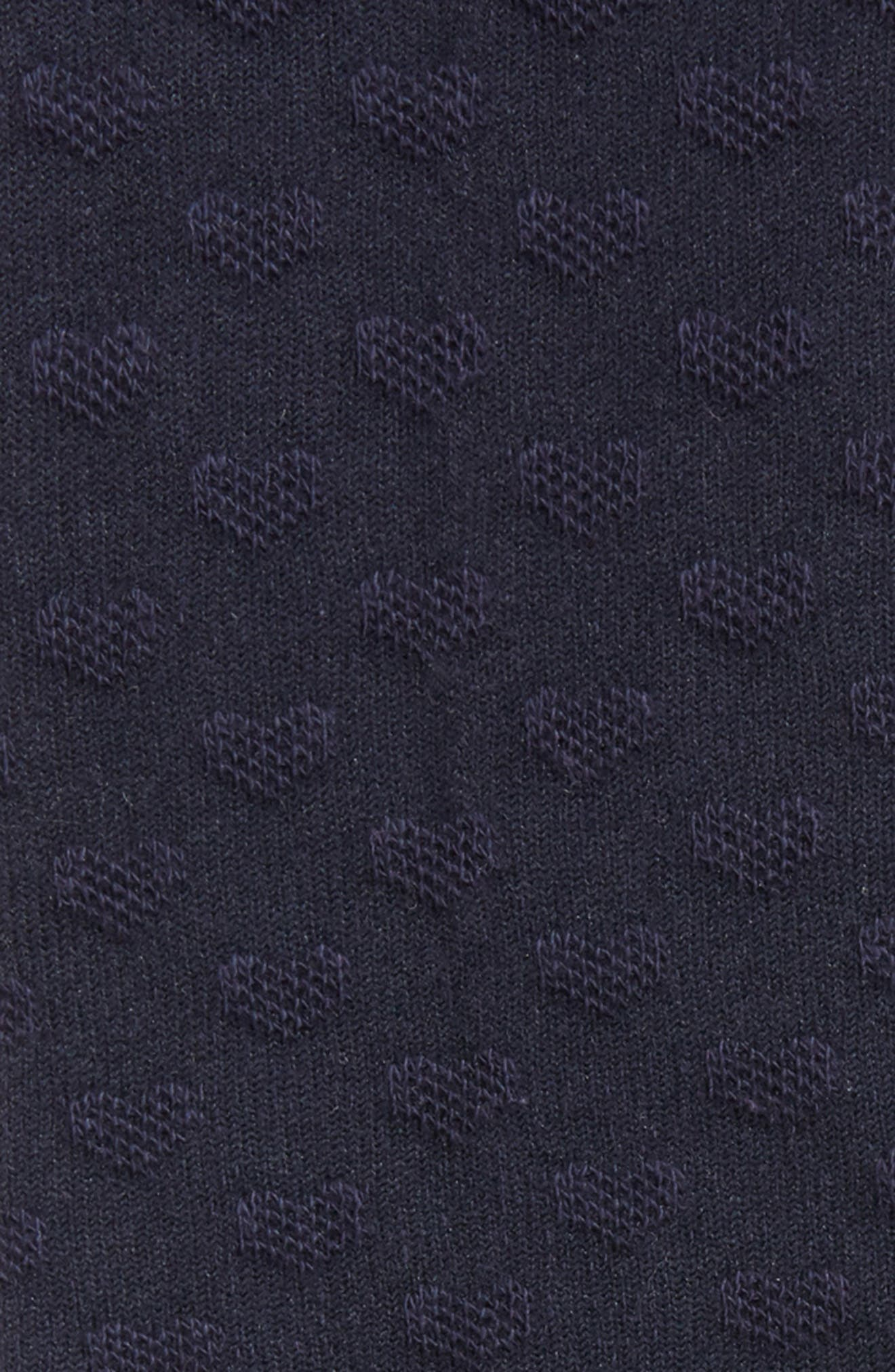 Pointelle Knee High Socks,                             Alternate thumbnail 2, color,                             NAVY W/ IVORY