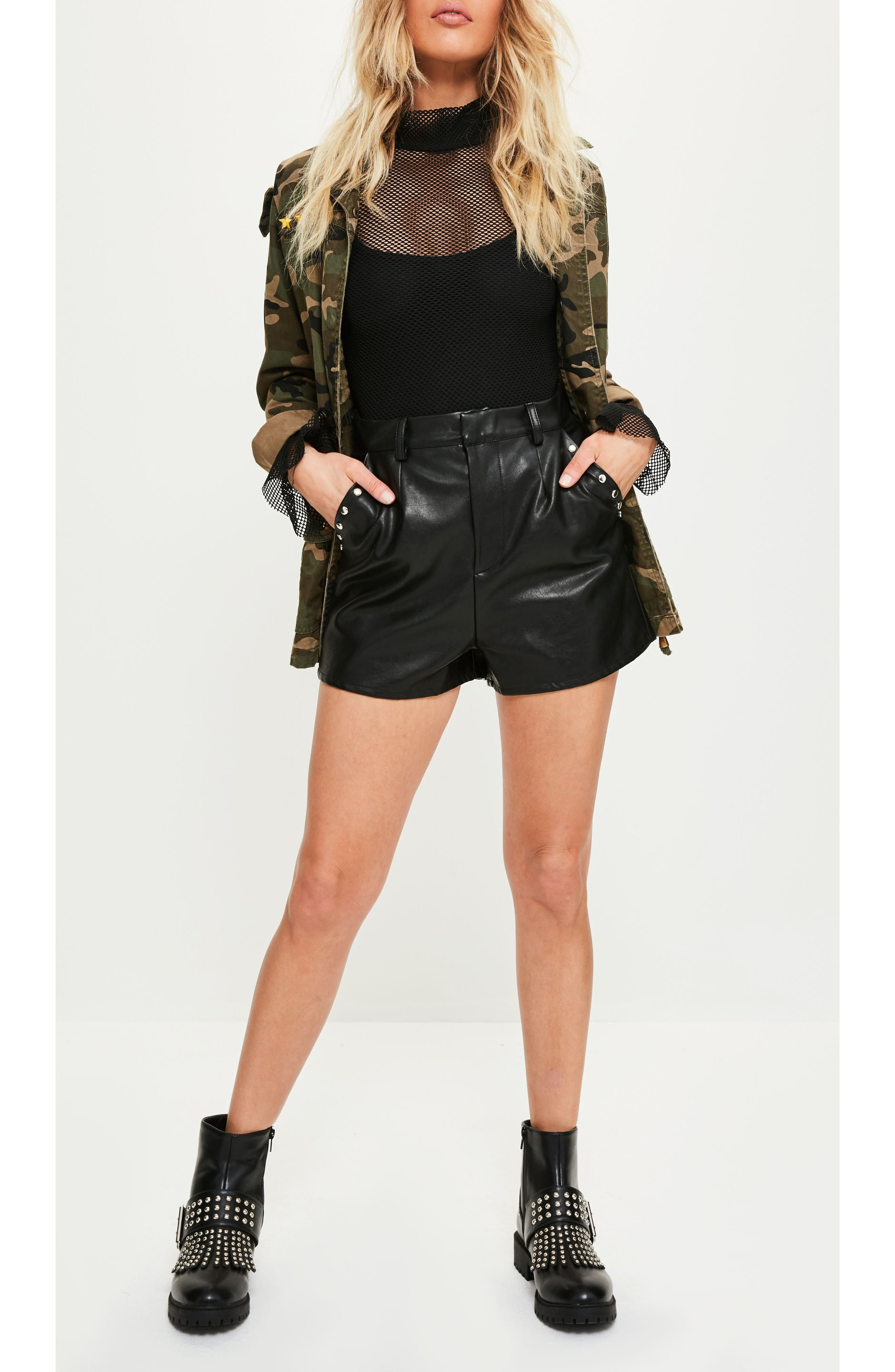 Stud Pocket Faux Leather Shorts,                             Alternate thumbnail 4, color,                             001