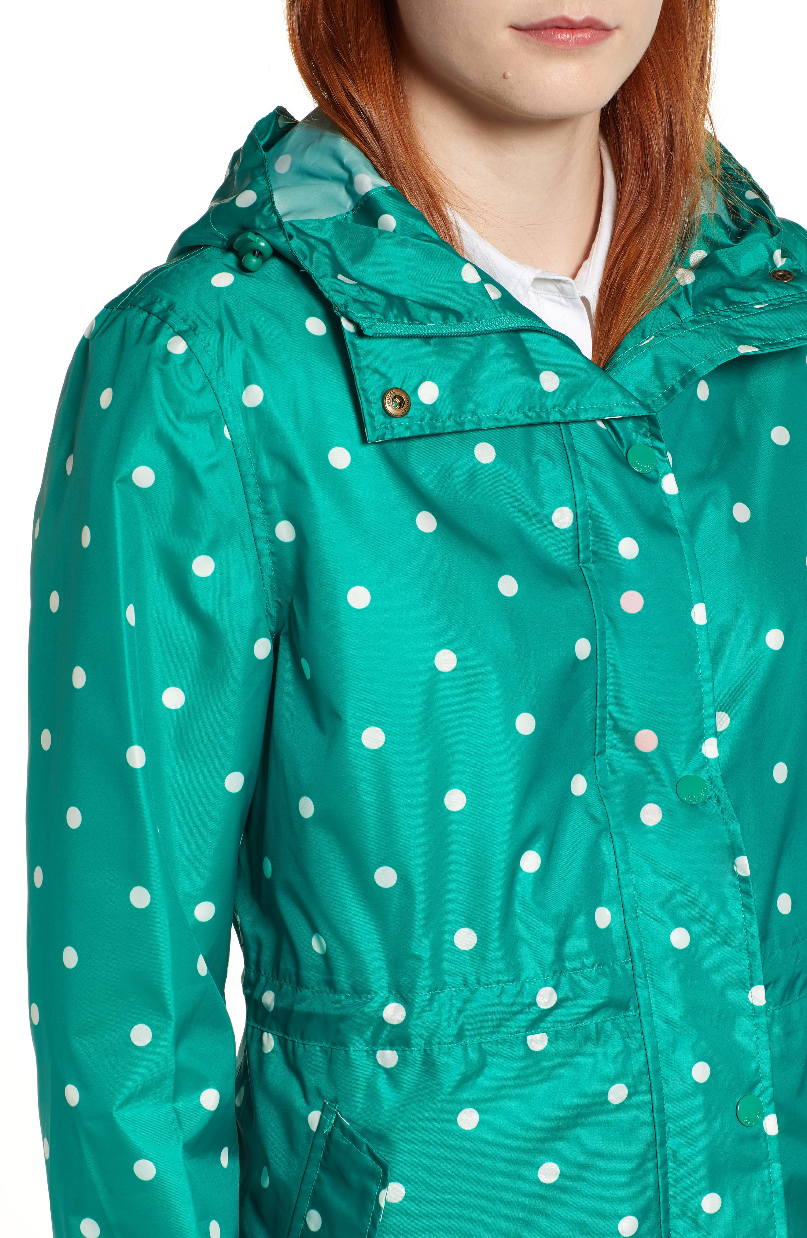 Go Lightly Waterproof Pack Away Hooded Jacket,                             Alternate thumbnail 4, color,                             GREEN SPOT