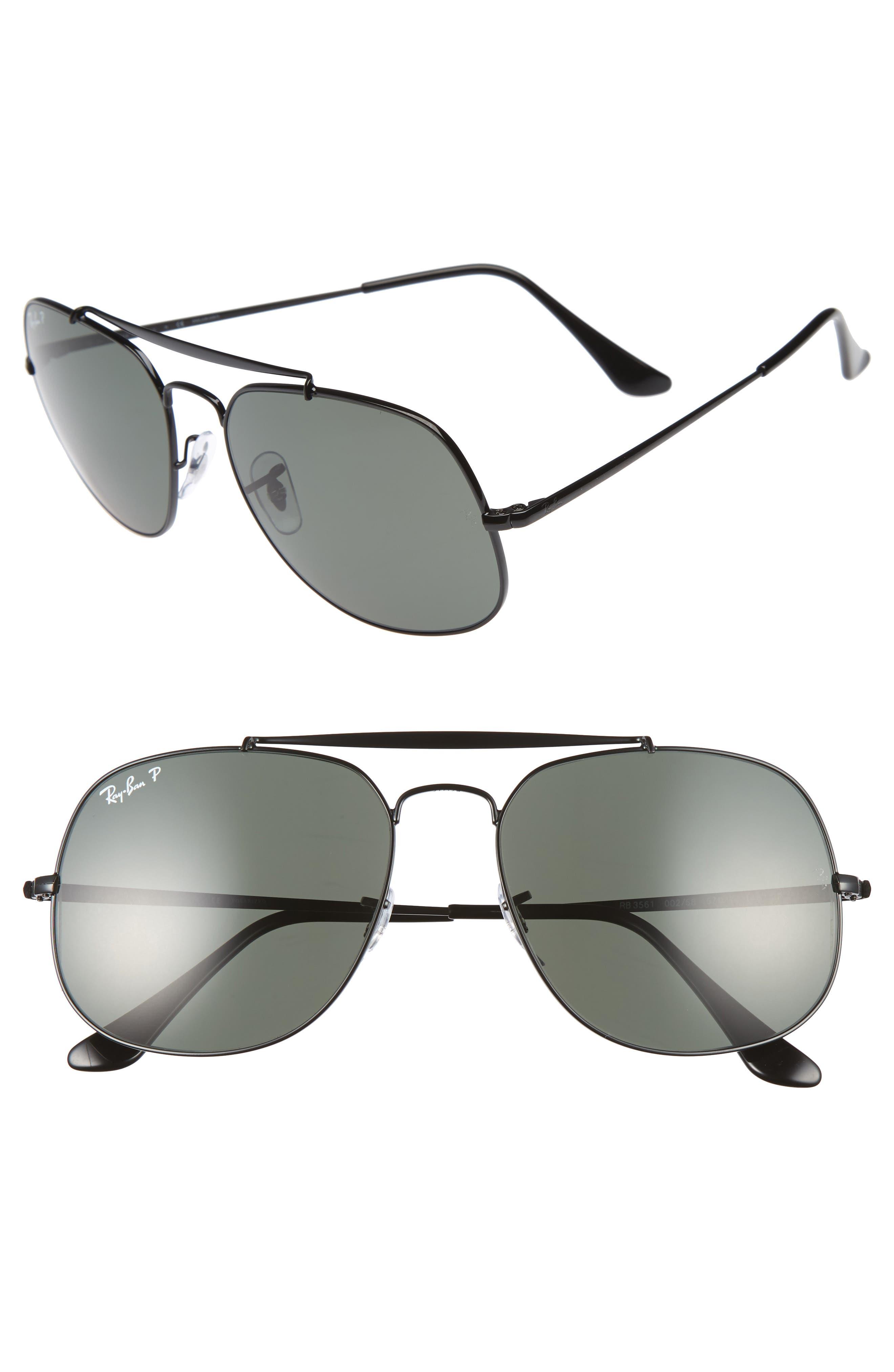 The General 57mm Polarized Sunglasses,                         Main,                         color, BLACK POL