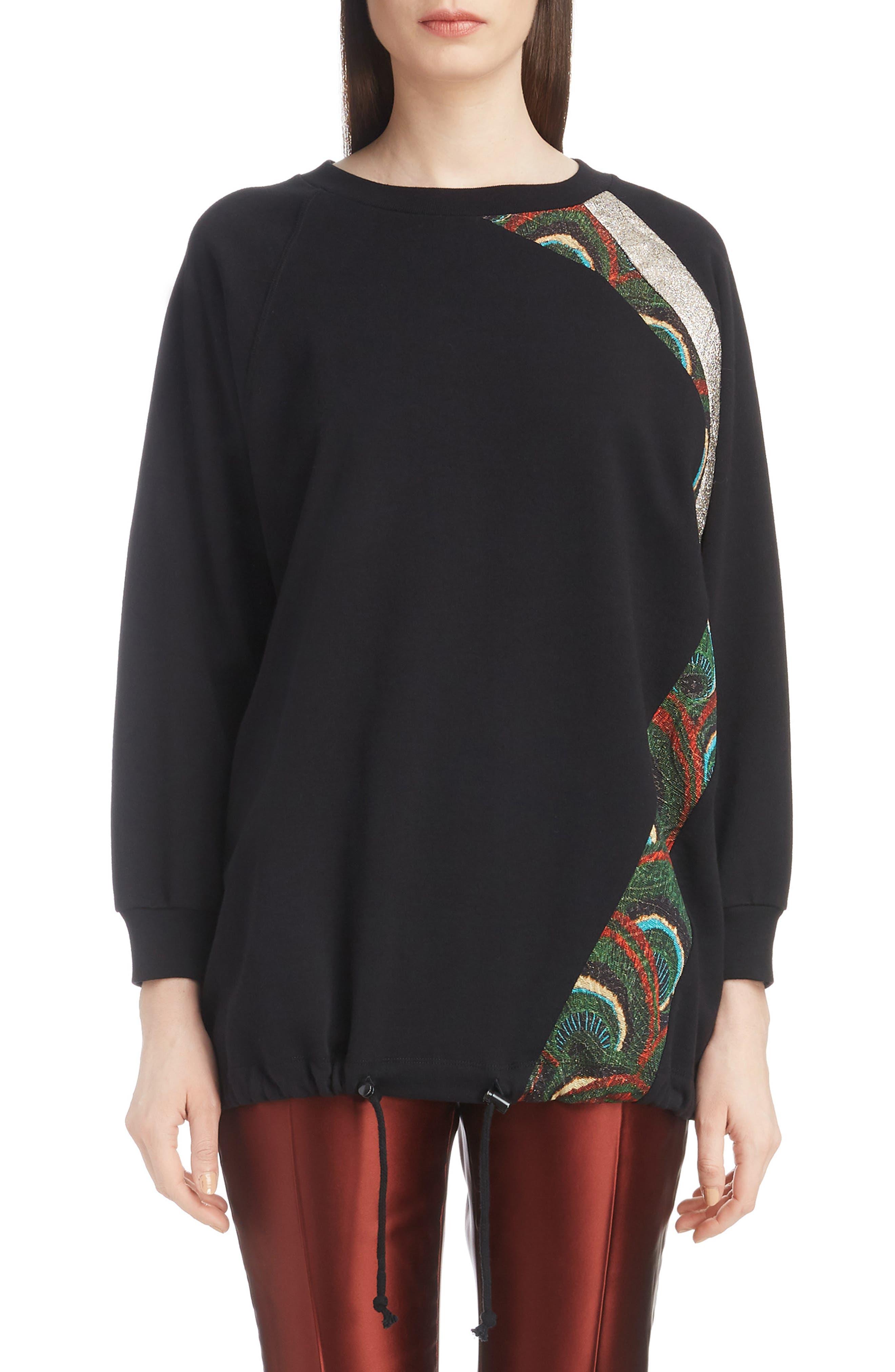 Metallic & Peacock Inset Sweatshirt,                             Main thumbnail 1, color,                             BLACK