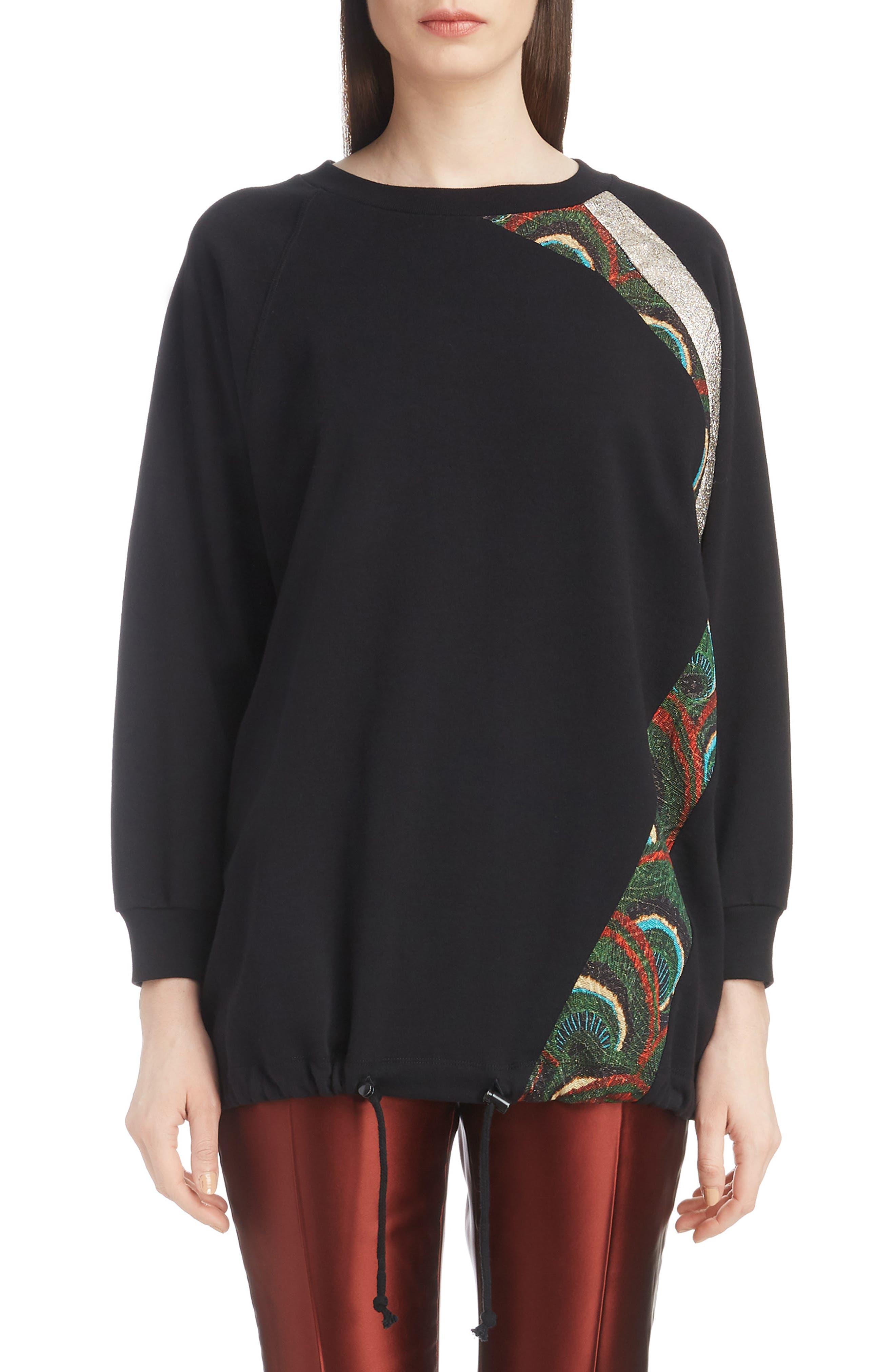 Metallic & Peacock Inset Sweatshirt,                         Main,                         color, BLACK