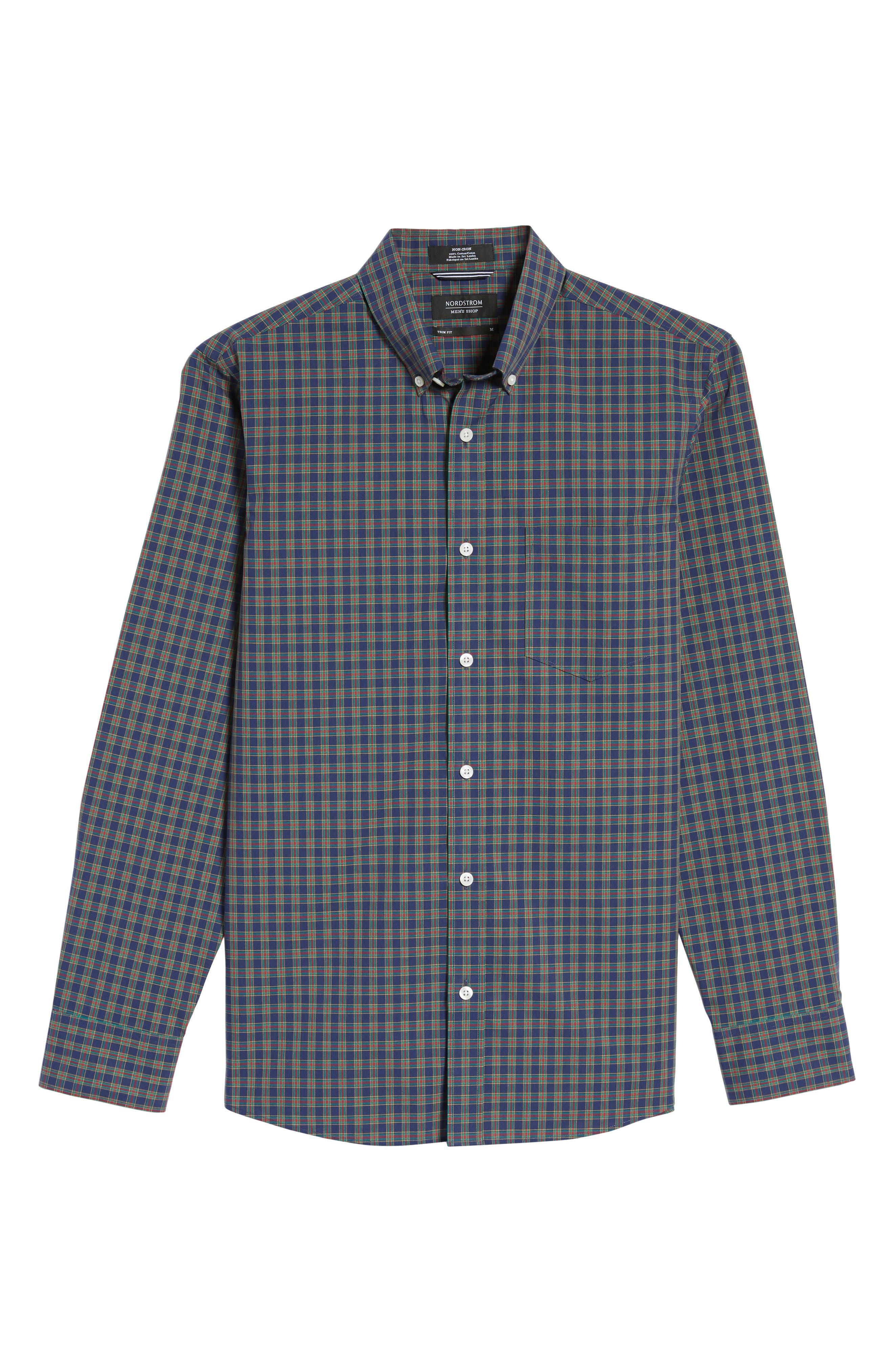 Trim Fit Non-Iron Plaid Sport Shirt,                             Alternate thumbnail 6, color,                             410